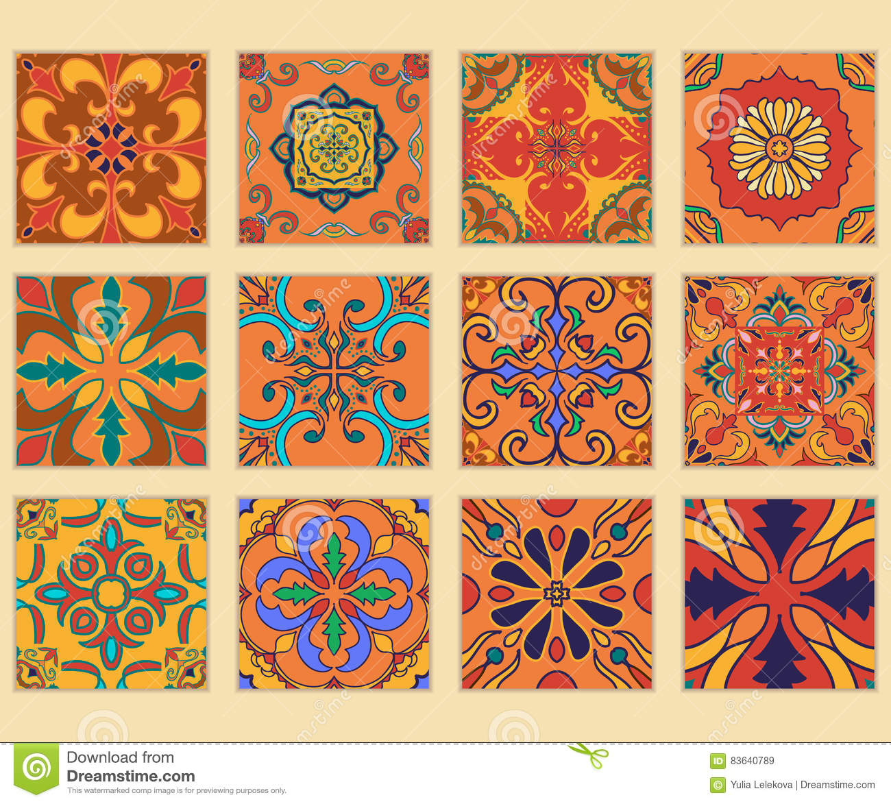Vector set of Portuguese tiles. Collection of colored patterns for design and fashion