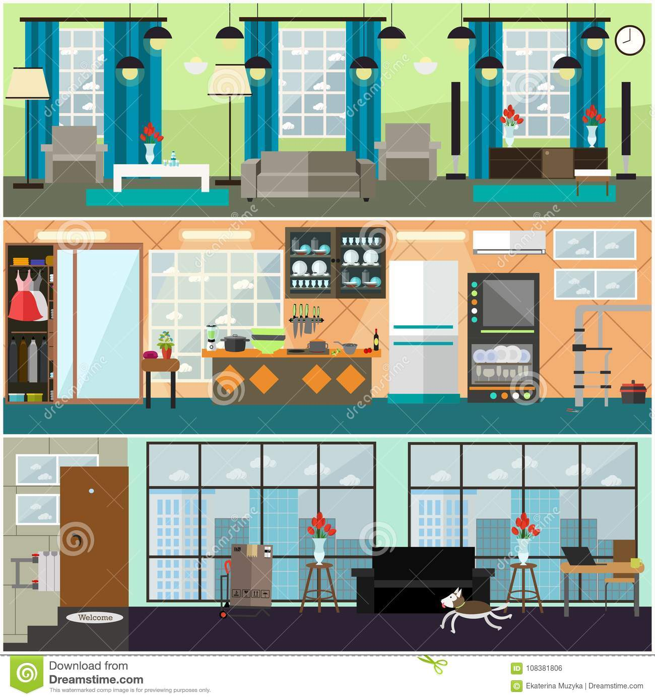 Plumbing Moving And Delivery Services Interior Vector Flat Poster