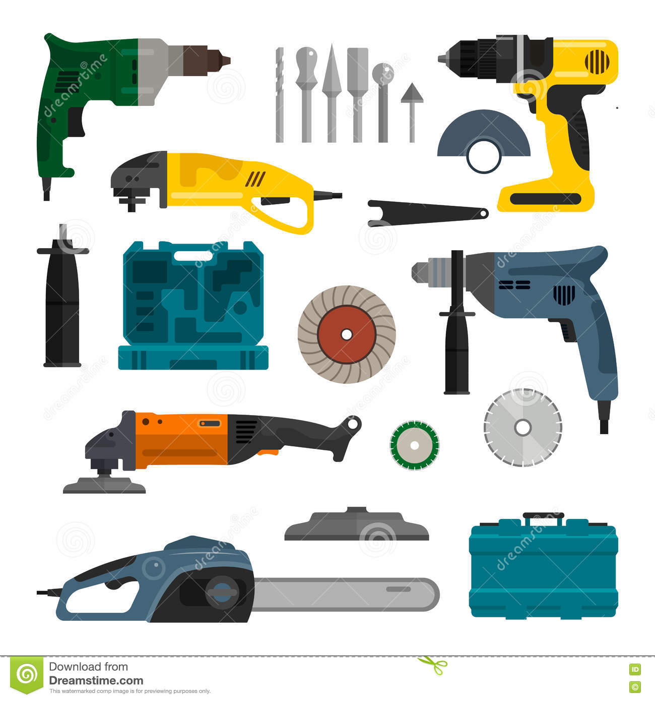 Vector Set Of Power Electric Tools Repair And Construction
