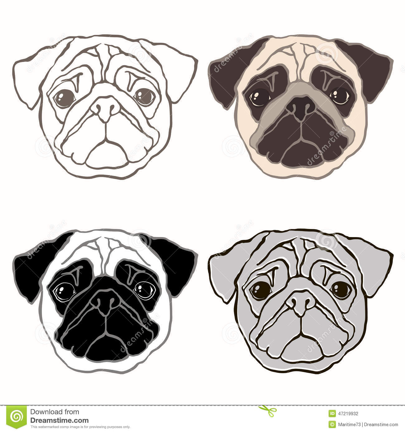 pugs in black and white clip art