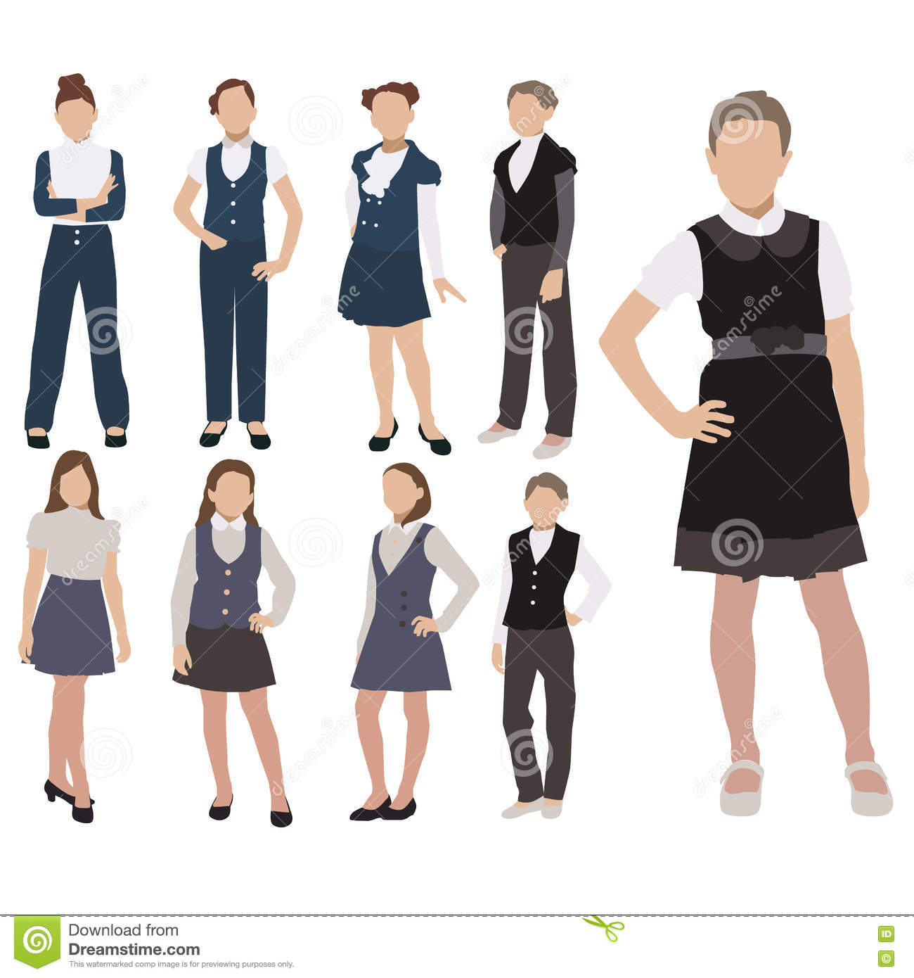Vector Set Of Pupils Silhouette In School Uniform On White