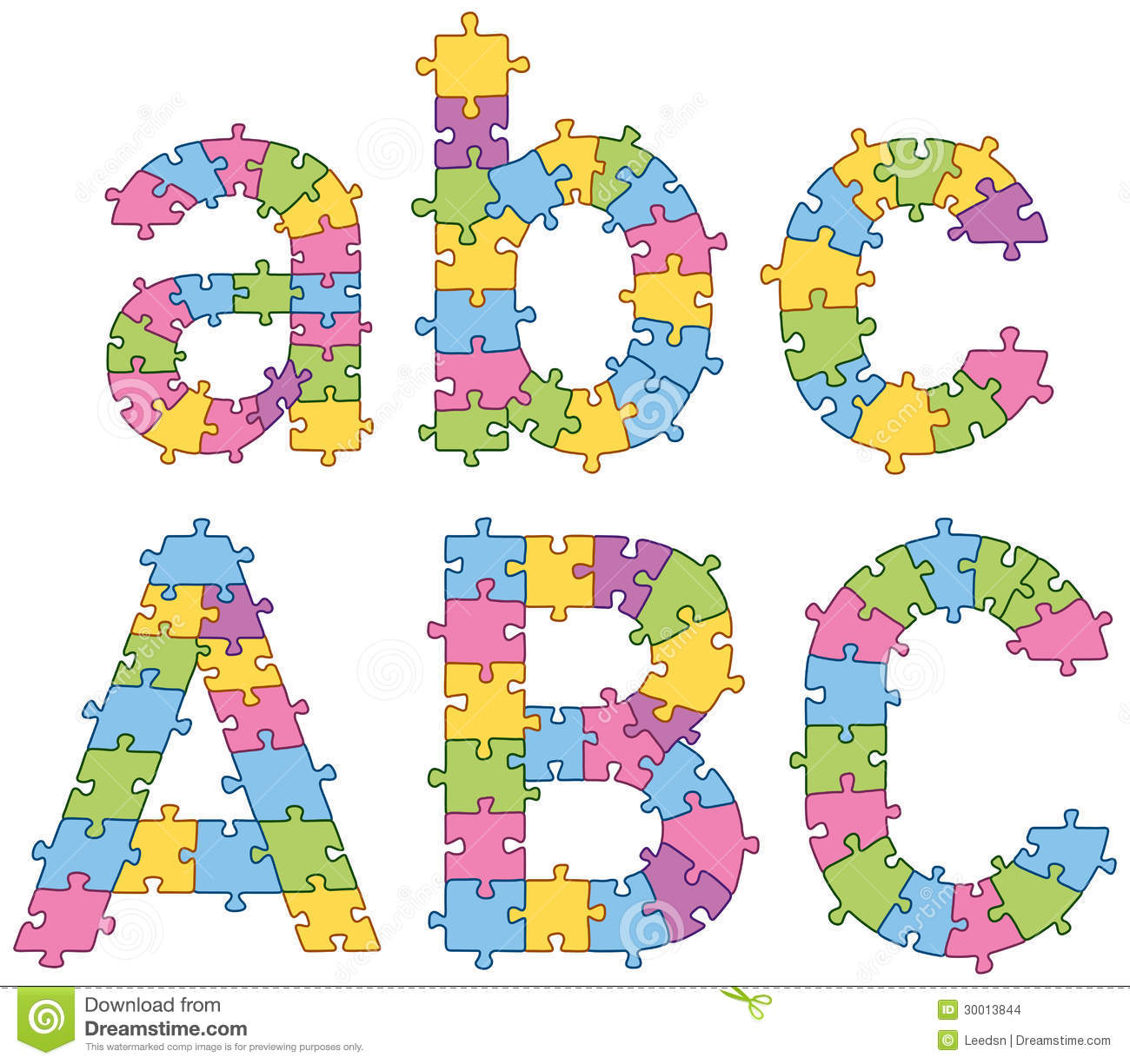 Vector set of puzzle jigsaw letters. All puzzle jigsaw has editable ...