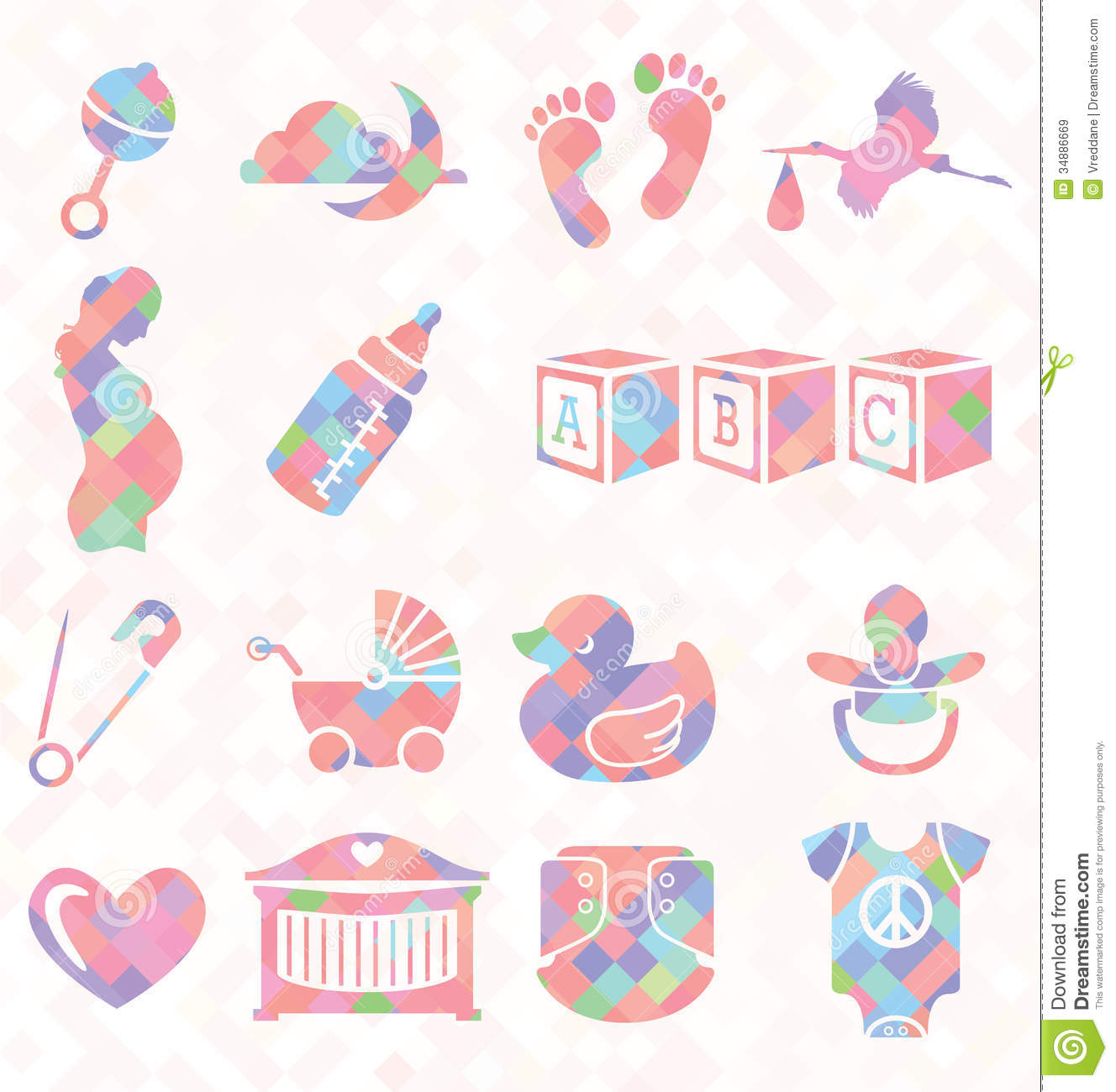 Vector Set Quilt Pattern Baby Icons Royalty Free Stock