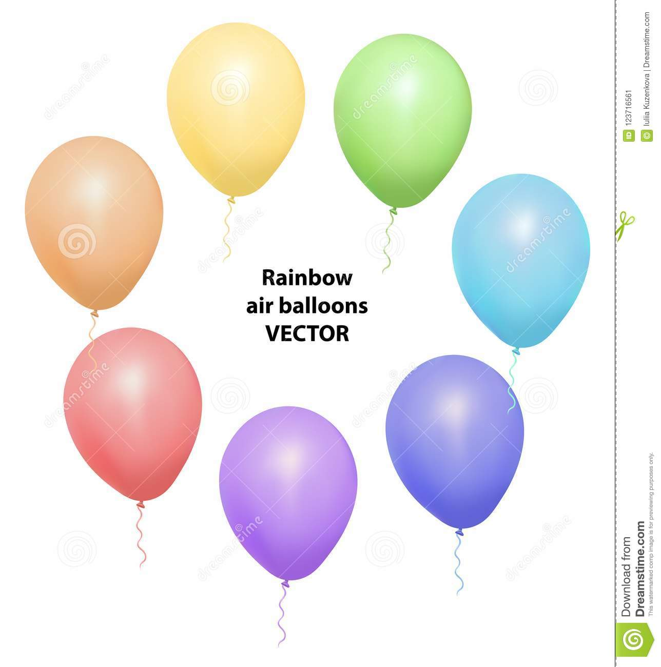 Vector set of realistic isolated balloons for celebration and decoration on the white background.