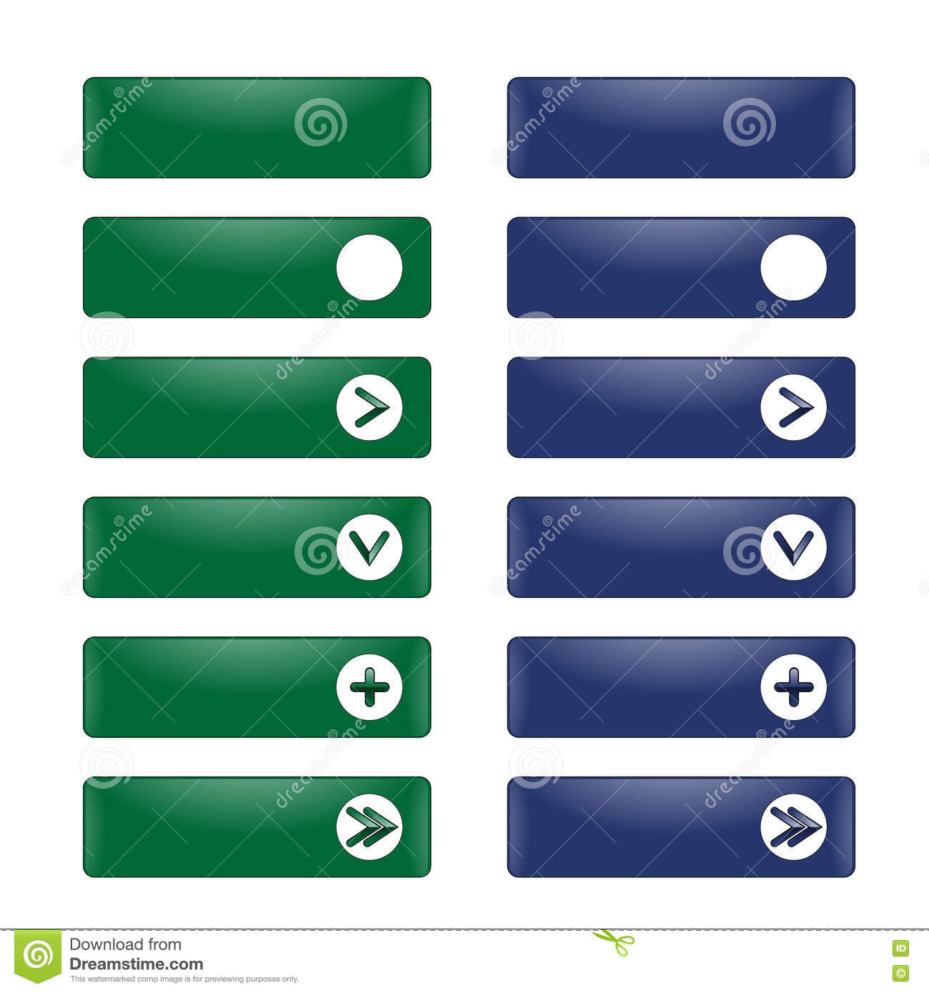 Vector Set Of Rectangular Buttons With A Round Frame Stock Vector ...