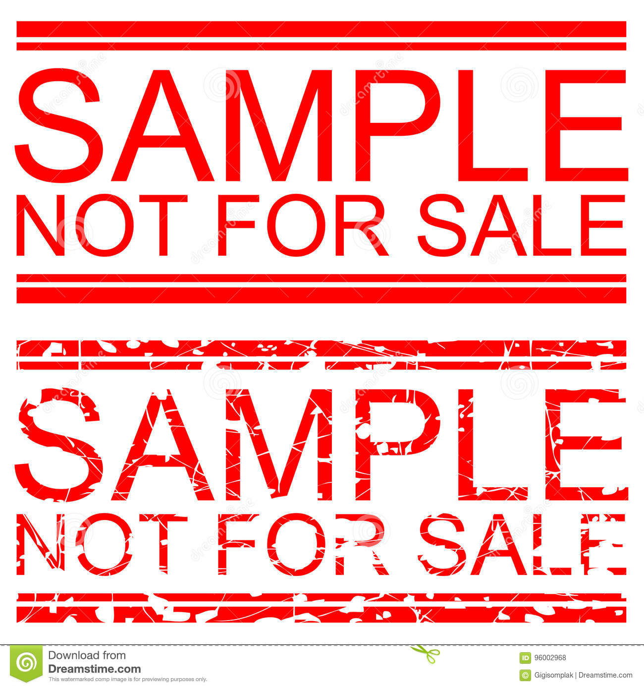 set red rubber stamp effect, sample not for sale stock vector