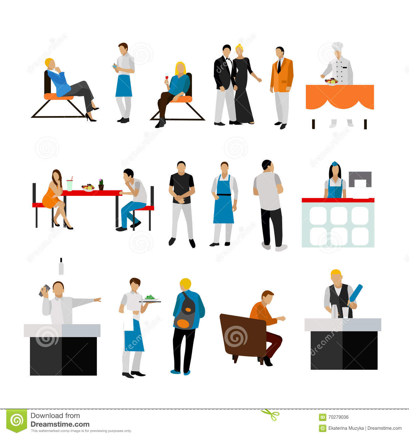 Restaurant Background With People Vector Set Of Restaurant Employees And Visitorspeople Icons On