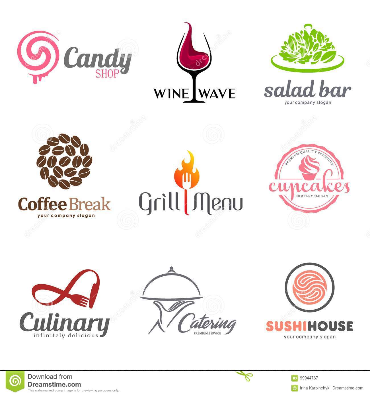 Vector set of restaurant logo design. Eco food, wine, sushi, cupcakes, coffee and grill icon. Dish elements icon design.