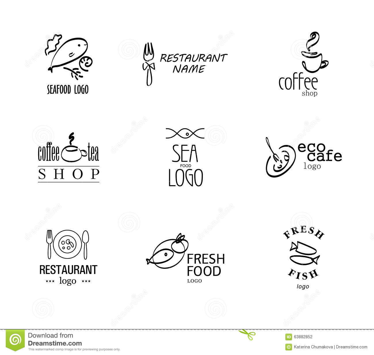 Vector set of restaurant logo design templates stock