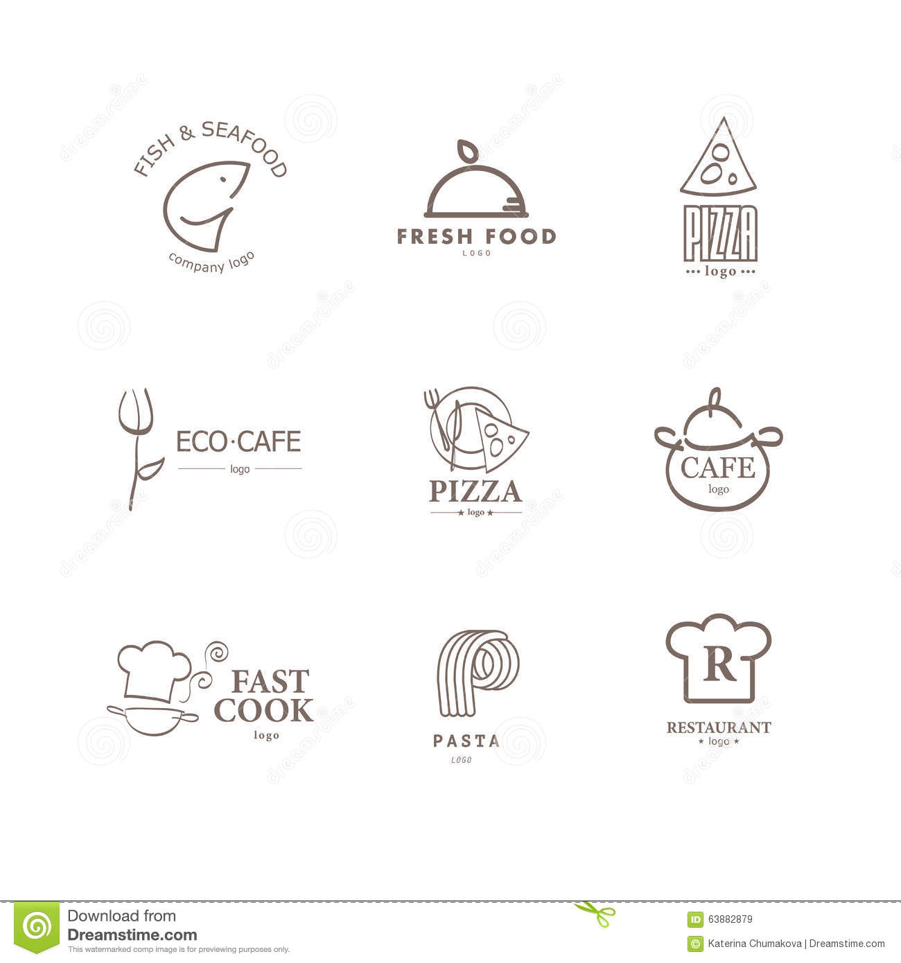 Vector set of restaurant logo design templates stock vector vector set of restaurant logo design templates fork food buycottarizona Image collections