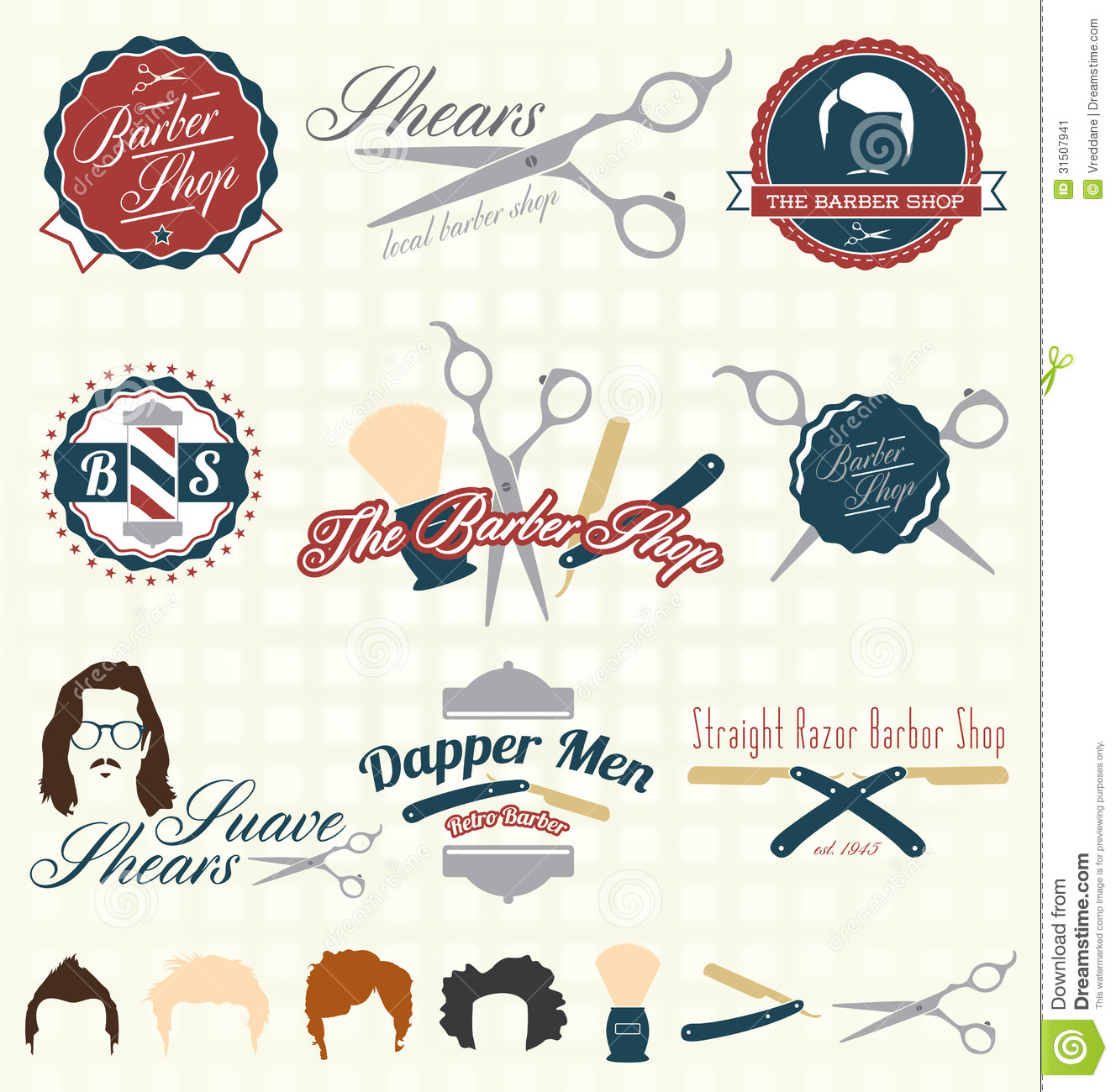 More similar stock images of ` Vector Set: Retro Barber Shop Labels `
