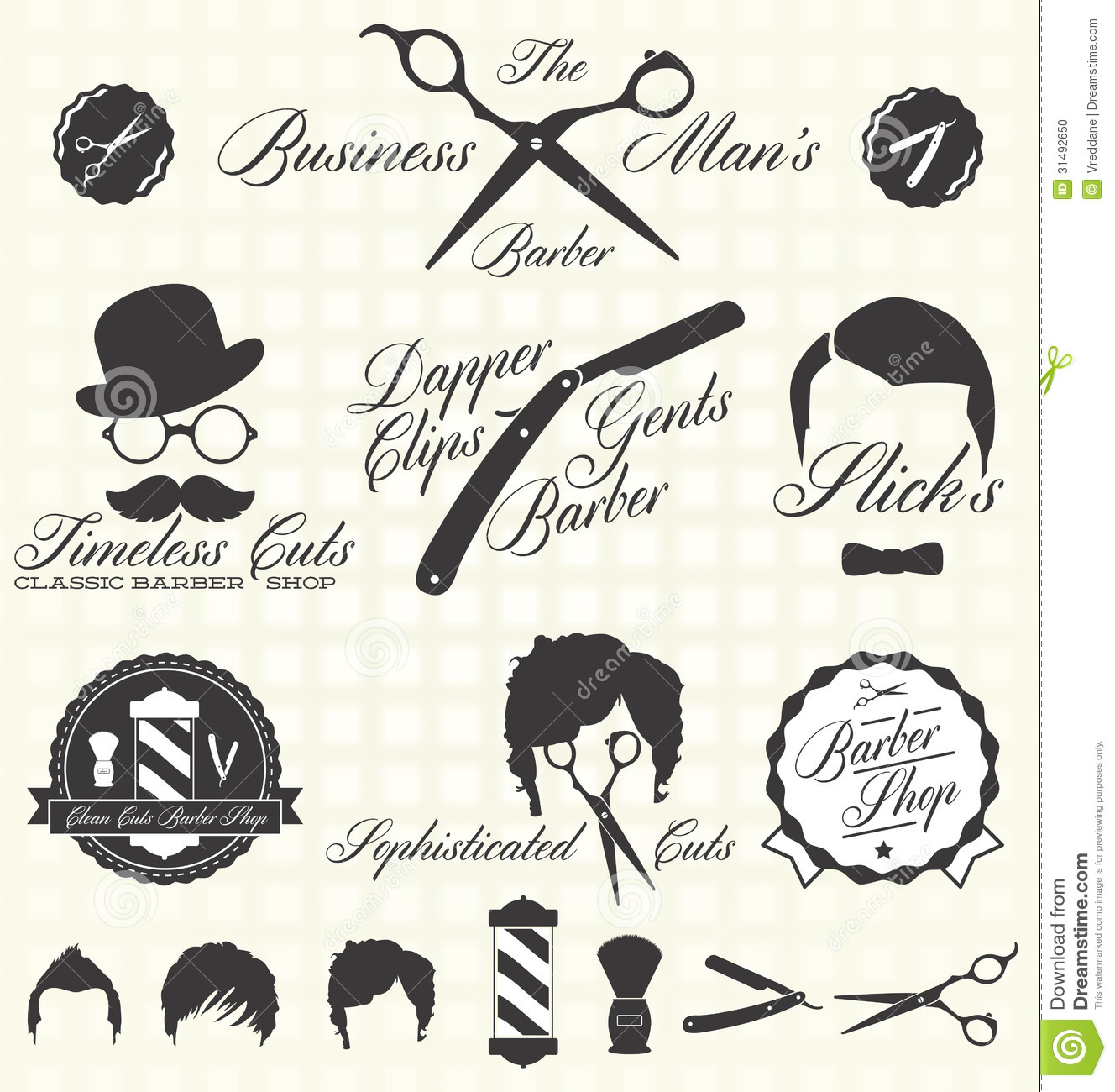 Barber Vector : Barber Shop Icon Vector Vector Set Retro Barber Shop