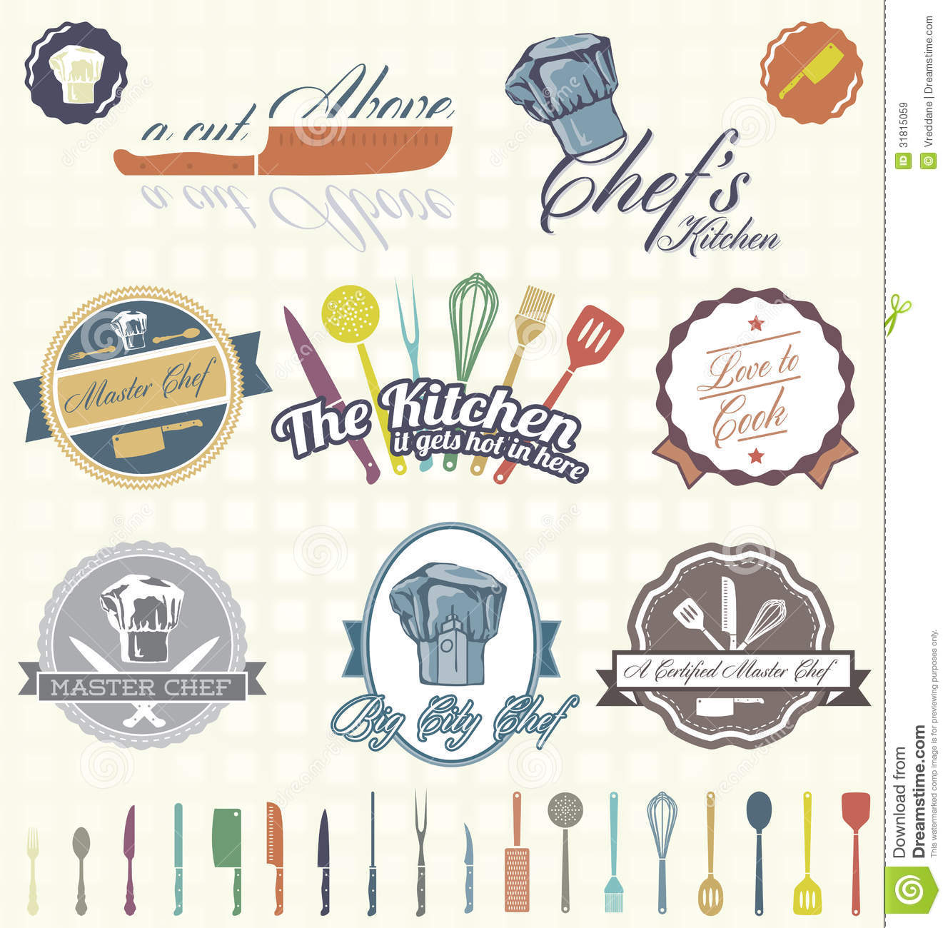 Vector Set: Retro Chef Labels And Icons Royalty Free Stock