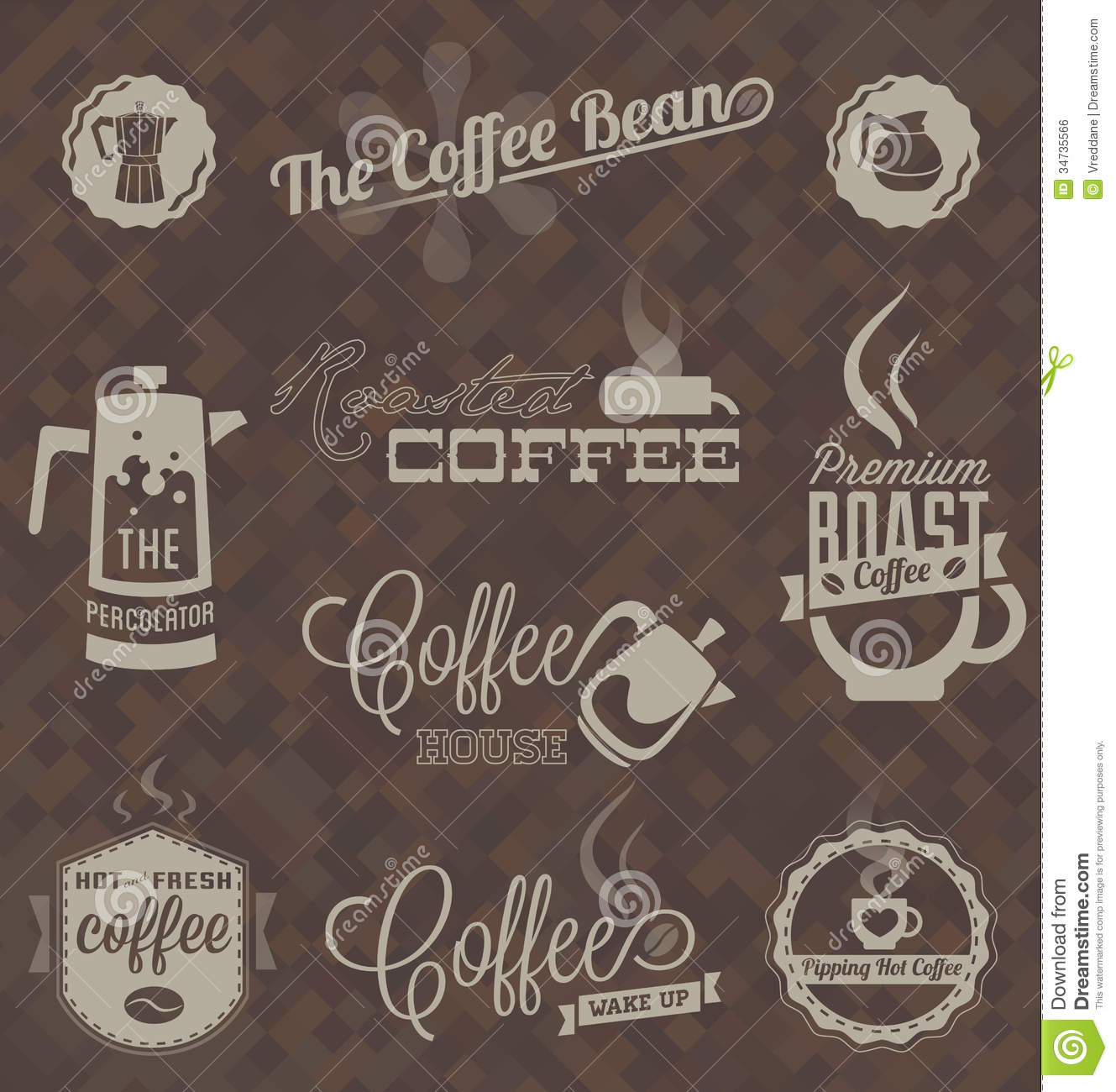 Vector Set Retro Coffee Shop Labels And Symbols Stock Vector Image 34735566