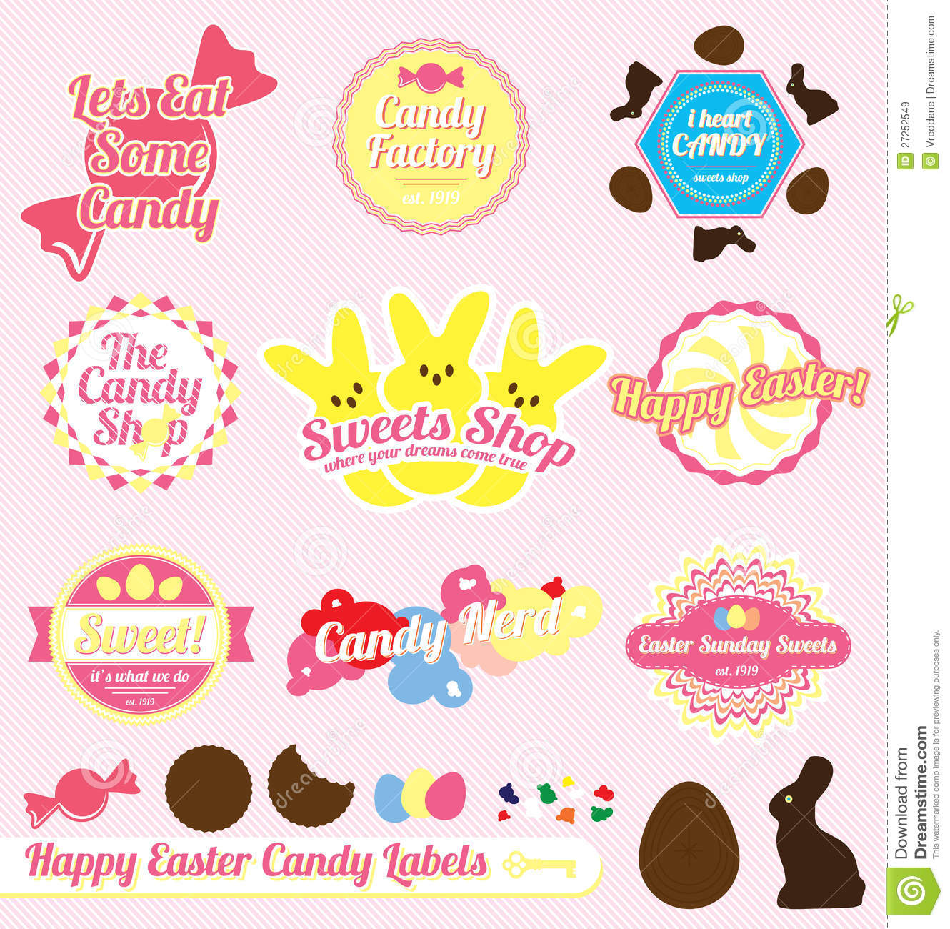 Vector Set: Retro Easter Candy Labels