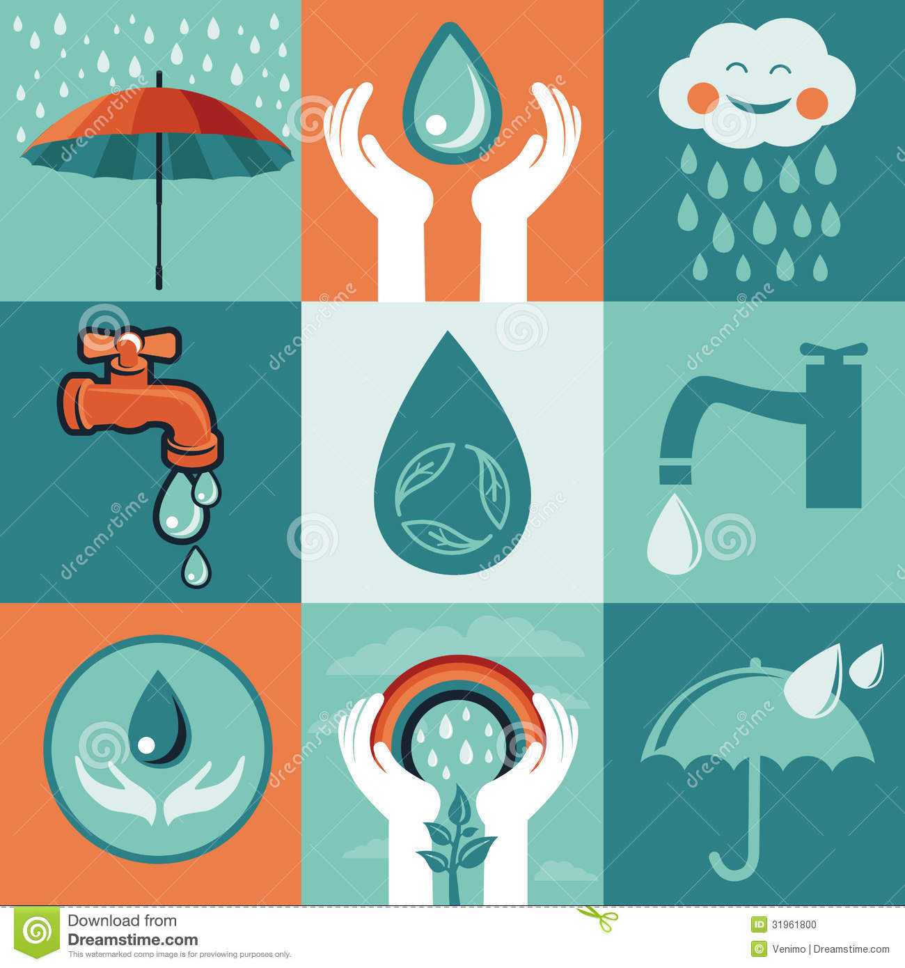 Poster design on save water - Flat Retro Save Vector Water