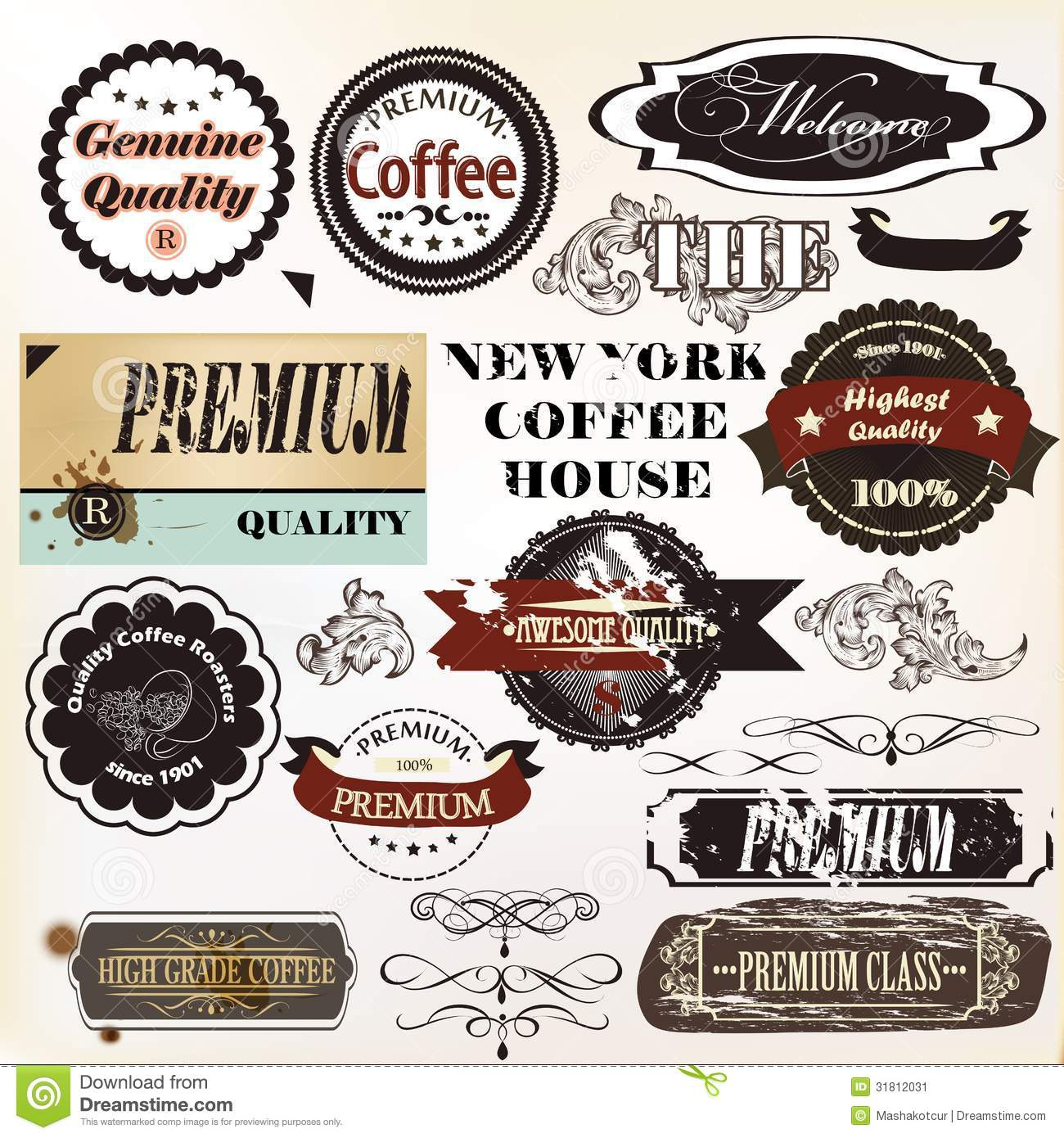 Vector set of retro grunge labels premium quality stock for Classic house labels
