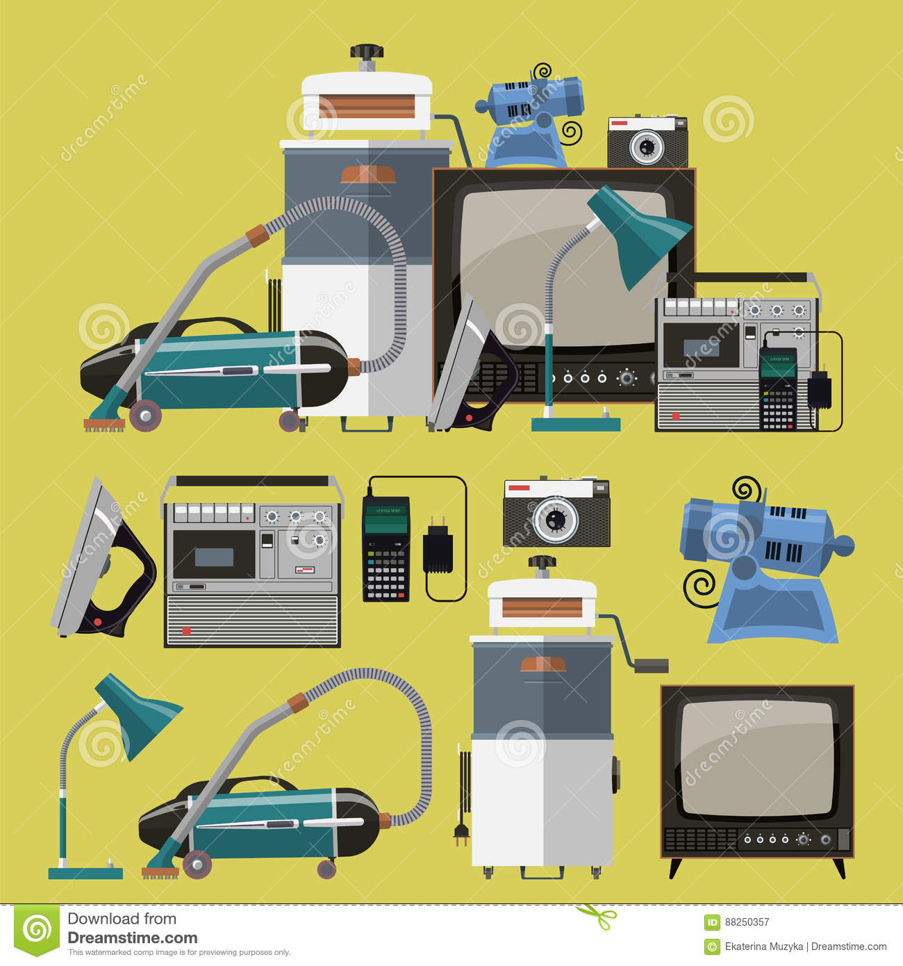 Vector set of retro home appliances icons cartoon vector for Household appliances design