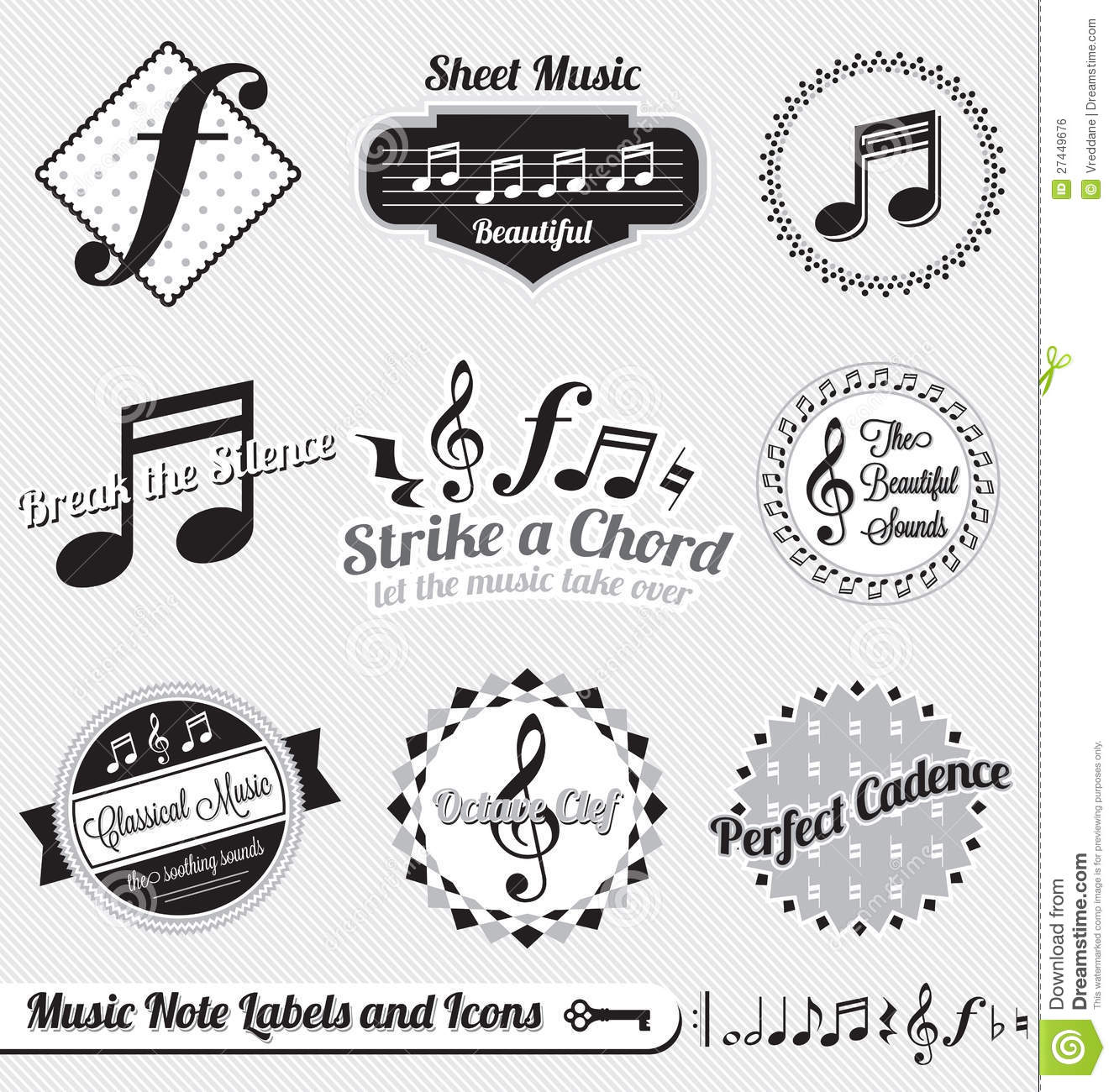 Vector Set: Retro Music Note Labels And Stickers Stock