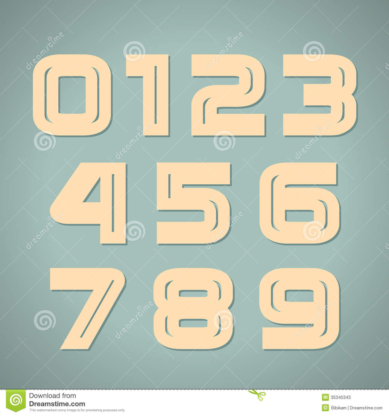 Vector set retro numbers stock vector. Illustration of ...
