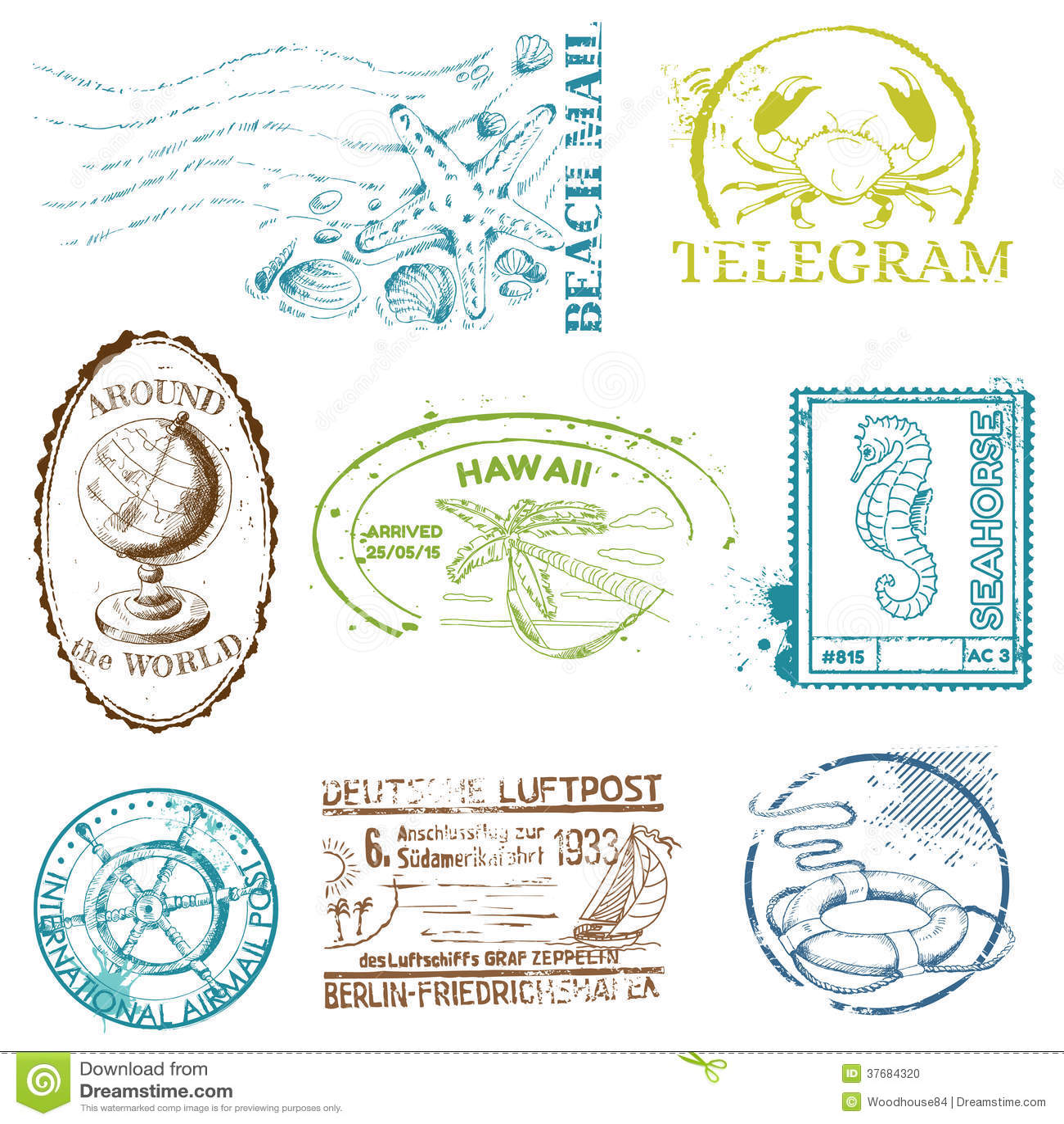 Vector Set of Retro SEA stamps