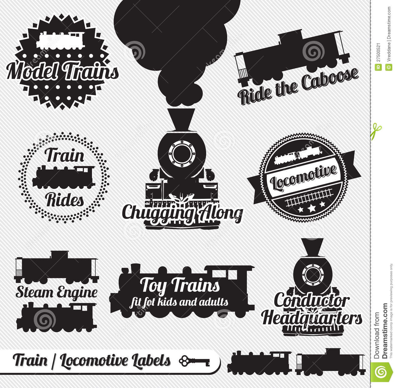 Vector Set: Retro Train Labels and Stickers