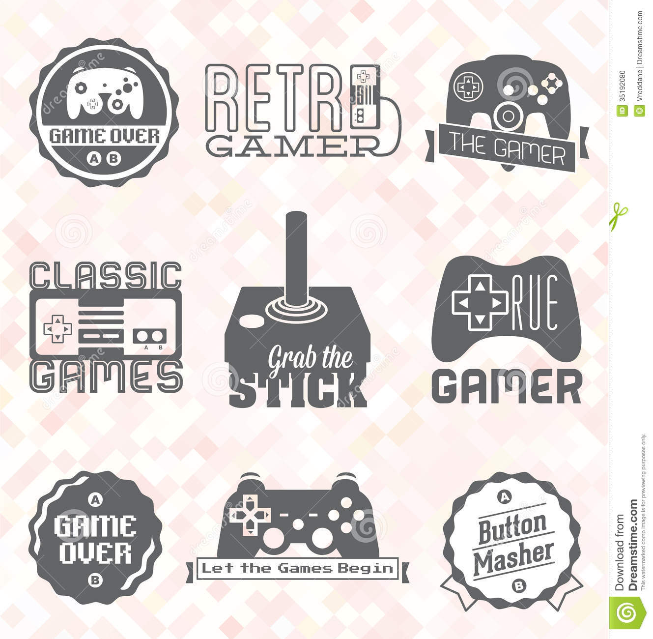 Vector Set: Retro Video Game Labels And Icons Stock Vector