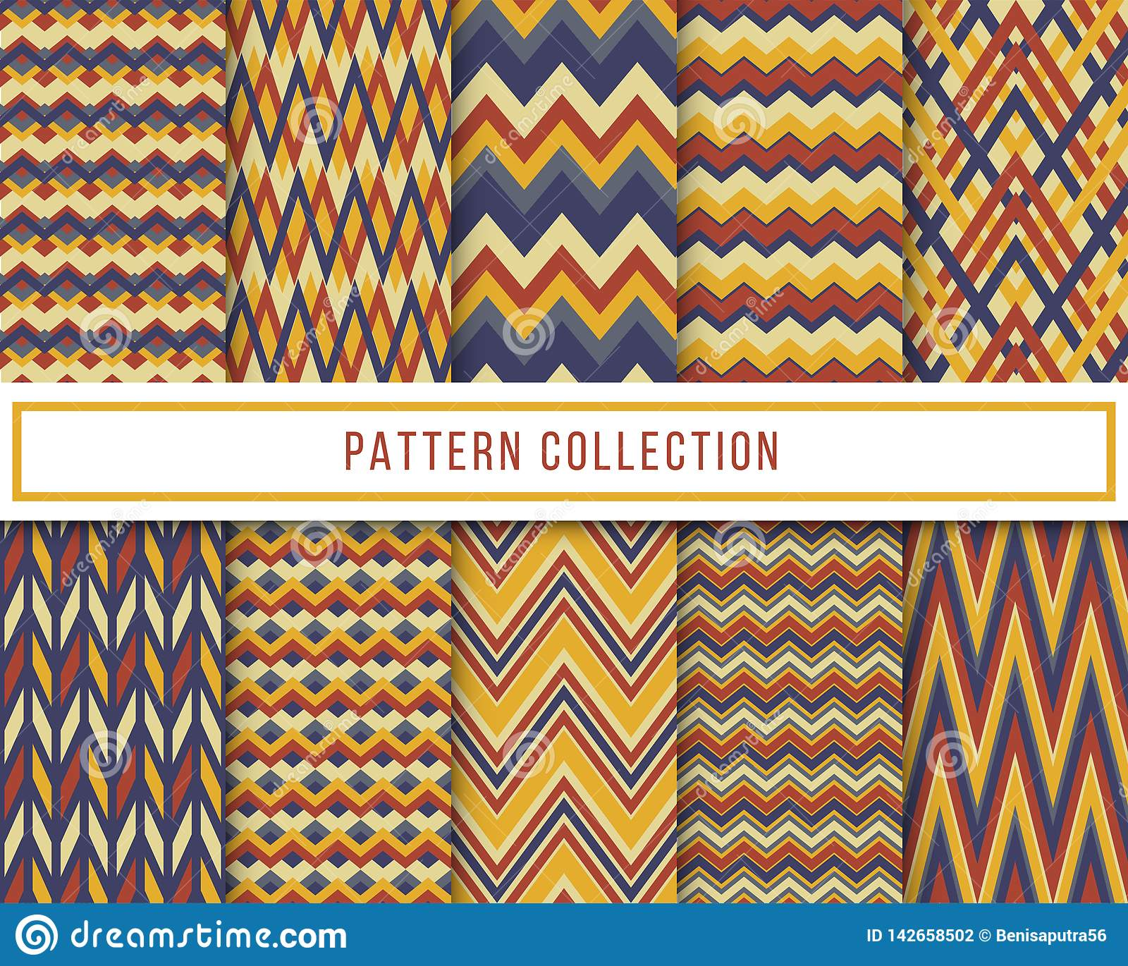 Vector set of 10 blue and yellow retro vintage chevron zigzag seamless pattern for wallpaper, fabric, wrapping, textile printing