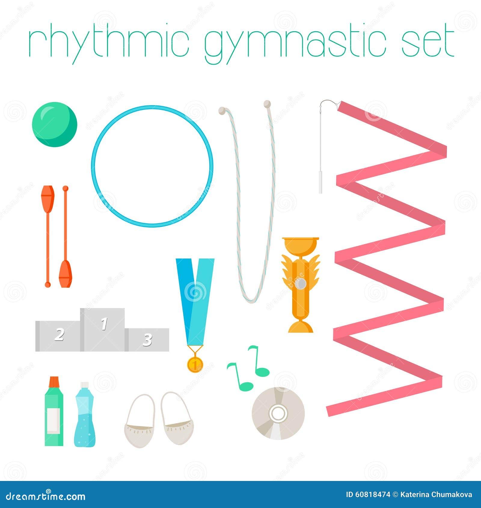 Rhythmic Gymnastics Equipment New York: Vector Set Of Rhythmic Gymnastic Elements. Stock Vector