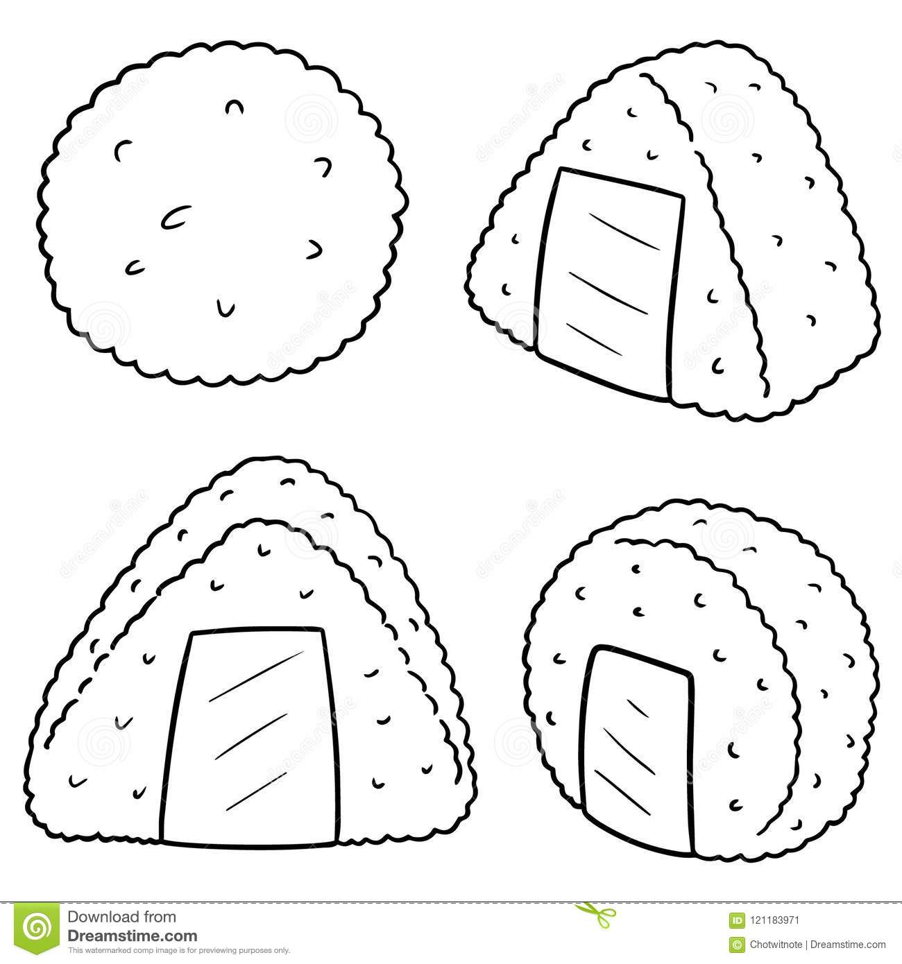 Vector set of rice ball stock vector. Illustration of food ...