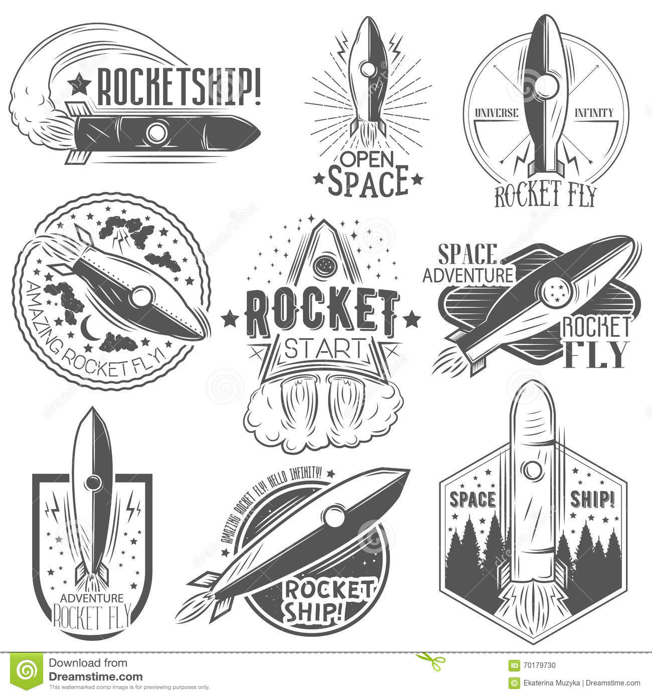 Vector Set Of Rocket Launch Labels In Vintage Style  Stock Vector