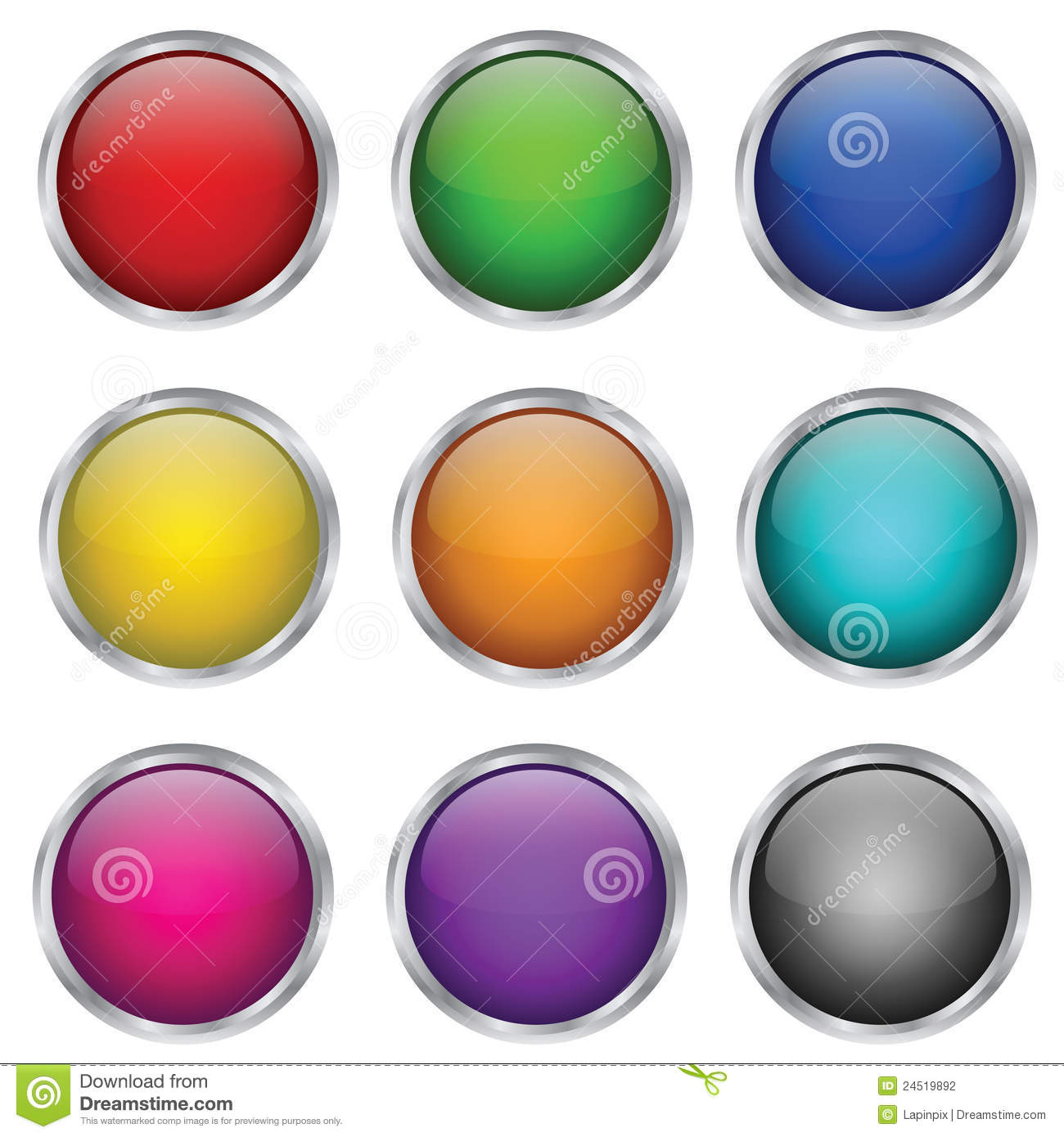 Download Vector Set Of Round Glass Buttons Stock Vector - Illustration of object, empty: 24519892