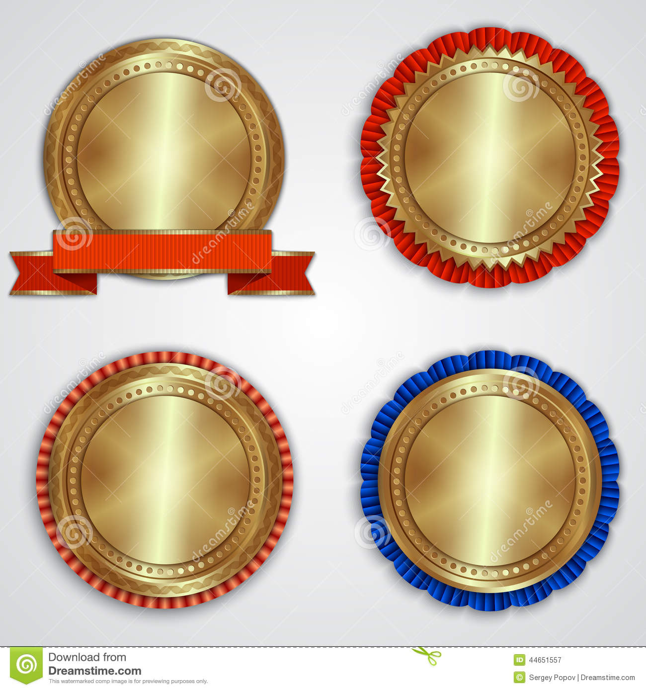 Vector Set Of Round Golden Badge Labels With Stock Vector ...