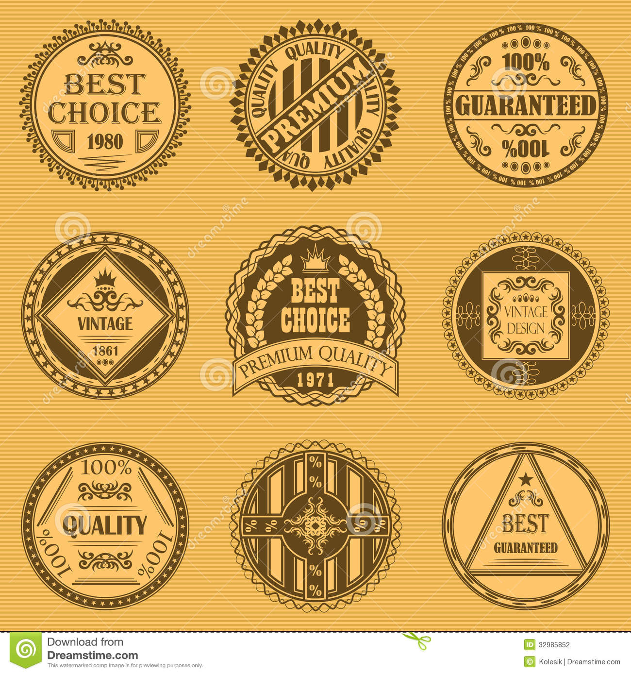 Vector set of round labels stock photography image 32985852 for Antique style decoration