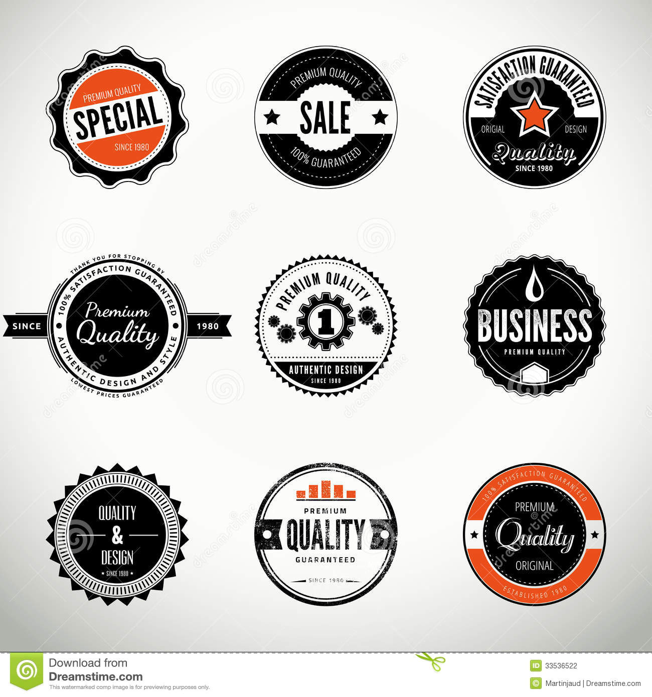 Vector Set With Round Seals And Badges Stock Photography