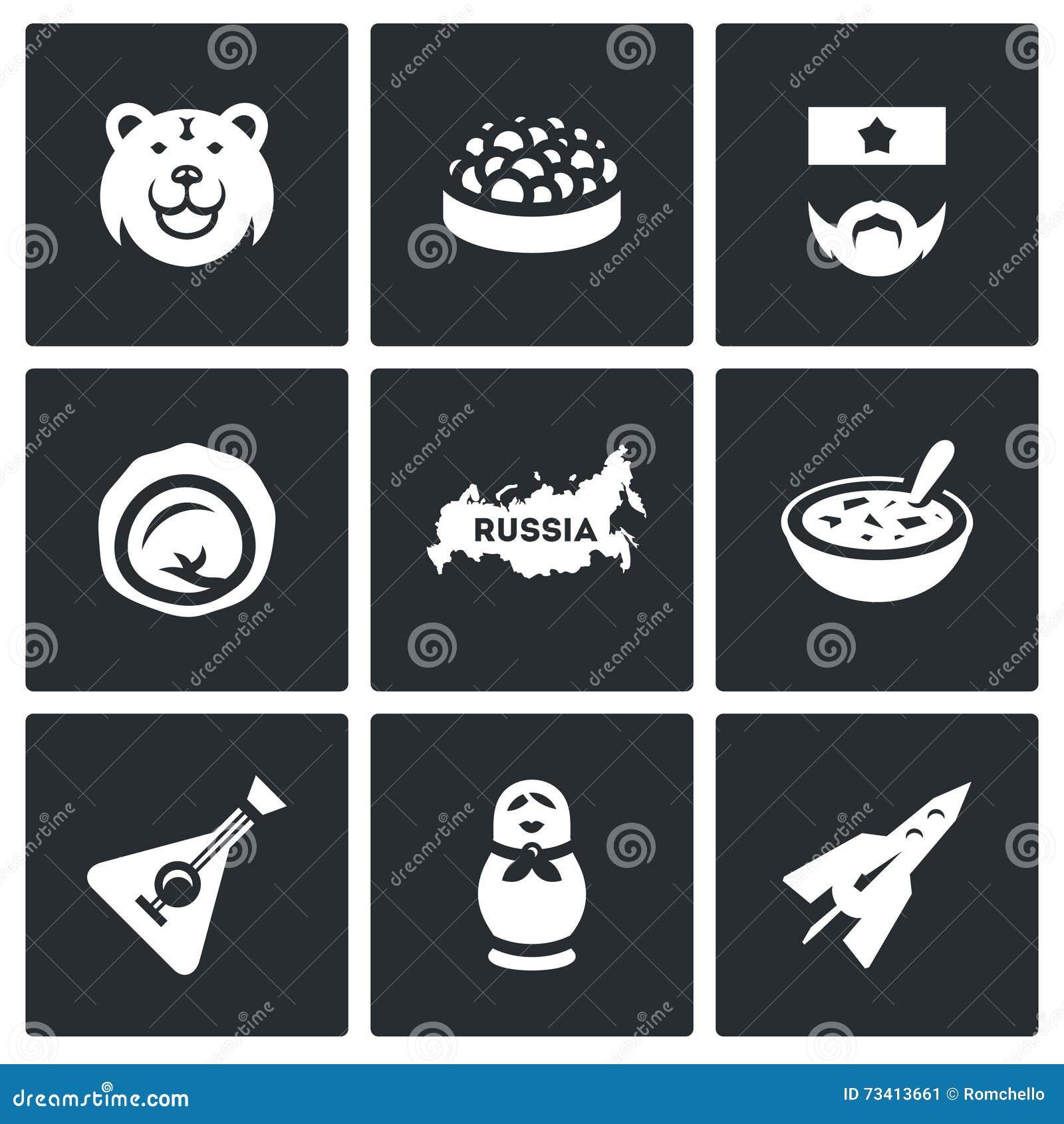 Vector set of russia icons bear caviar soldier dumpling vector set of russia icons bear caviar soldier dumpling territory cuisine balalaika biocorpaavc