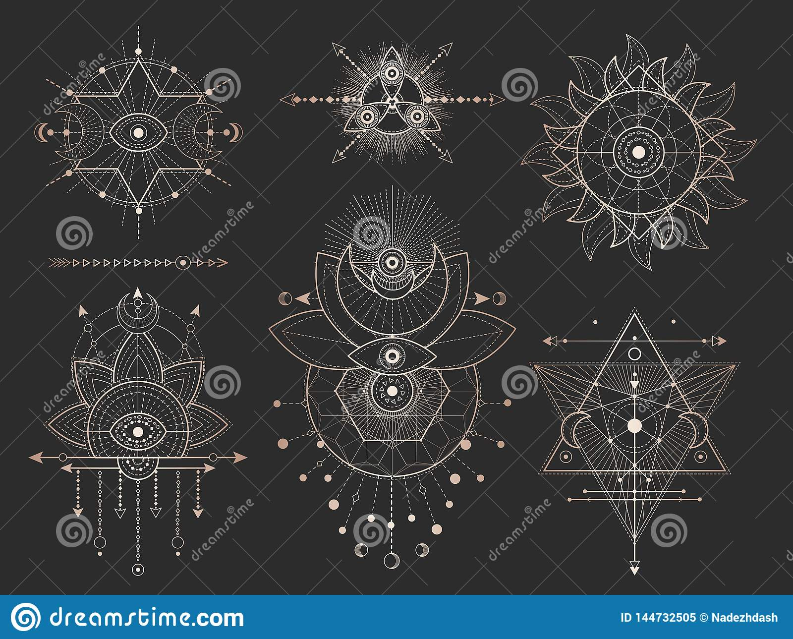 Vector Set Of Sacred Geometric Symbols And Figures On Black