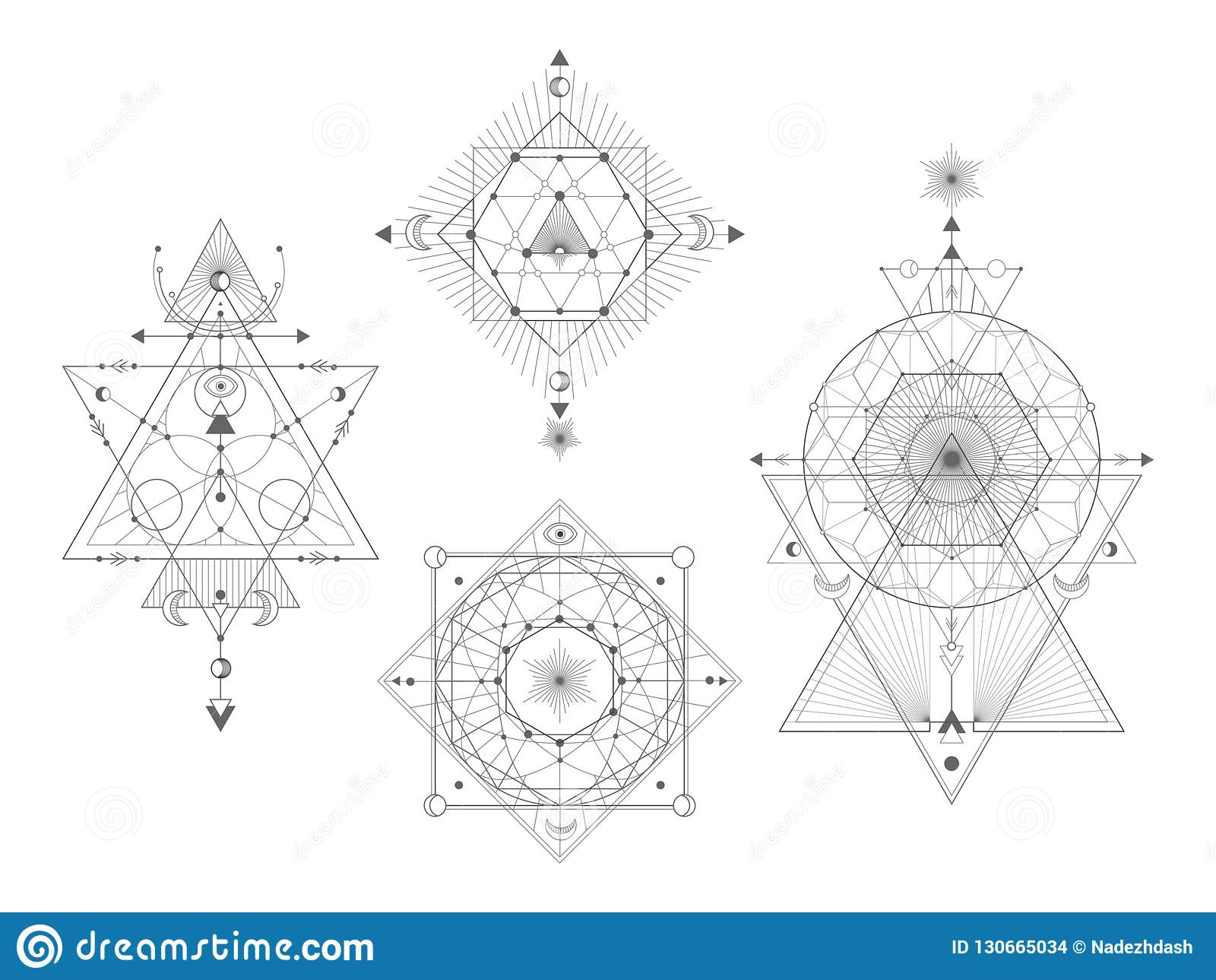 Vector set of Sacred geometric symbols on white background. Abstract mystic signs collection.
