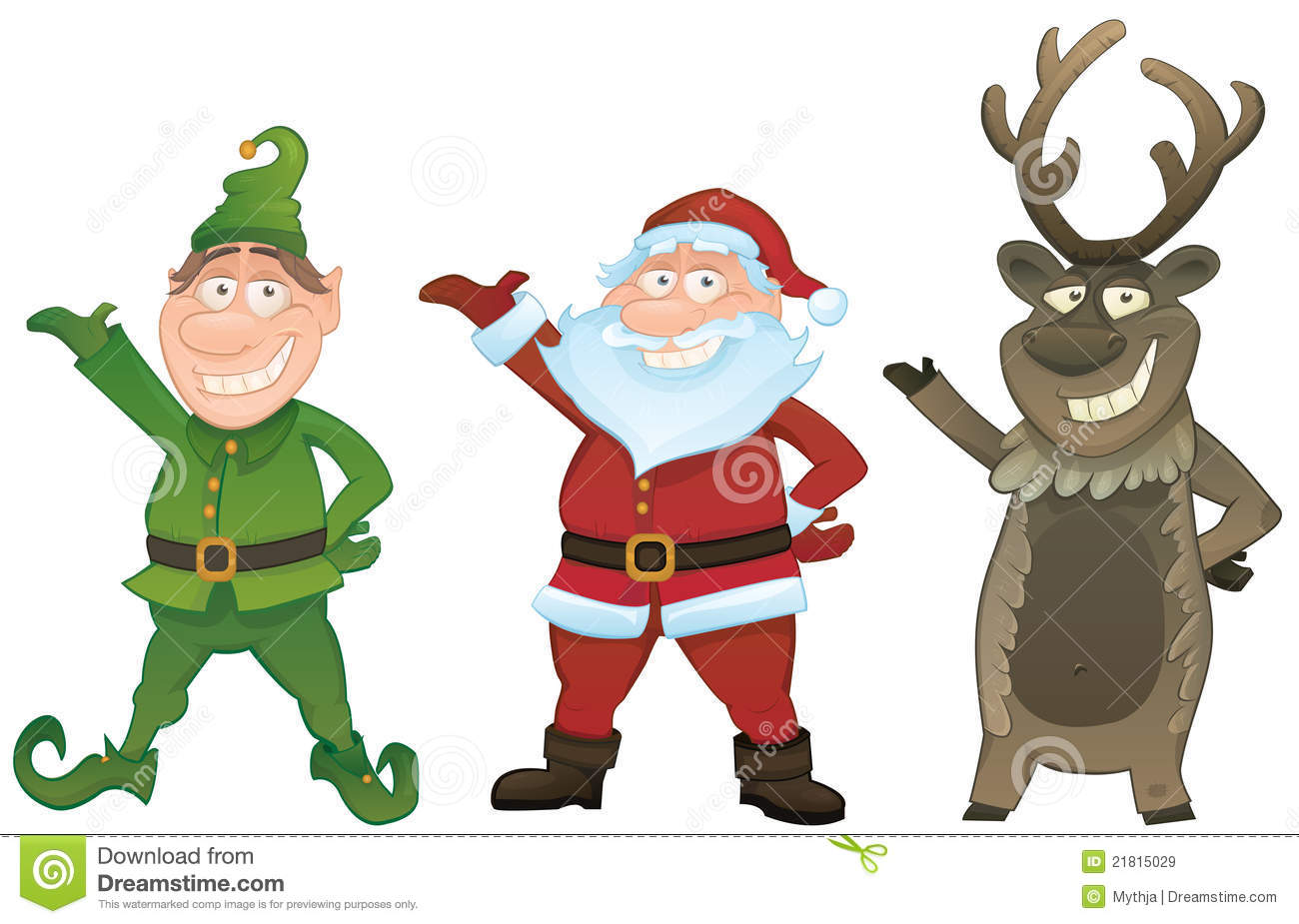 ... Christmas series. Set with Santa Claus , Elf and Rudolph reindeer
