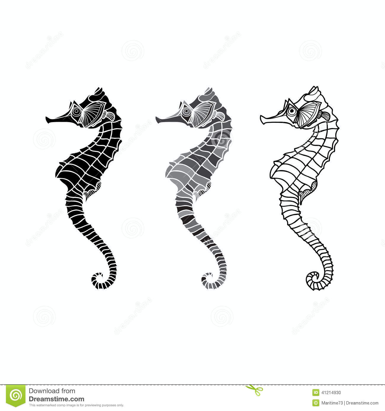 Seahorse Silhouette Vector Set Of On A