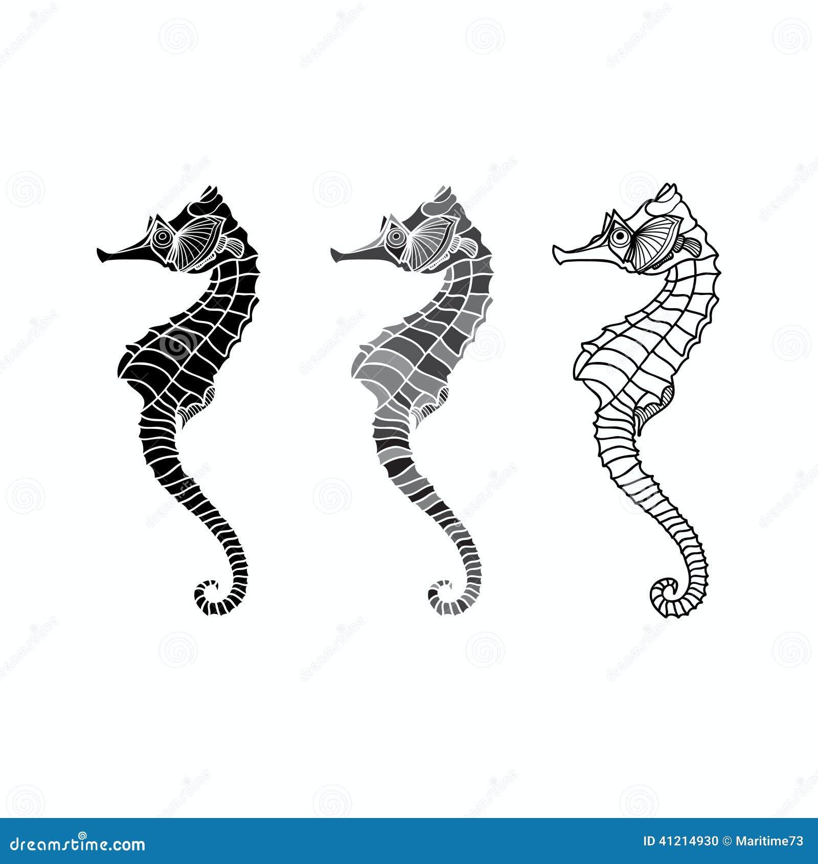 Vector set of seahorse...