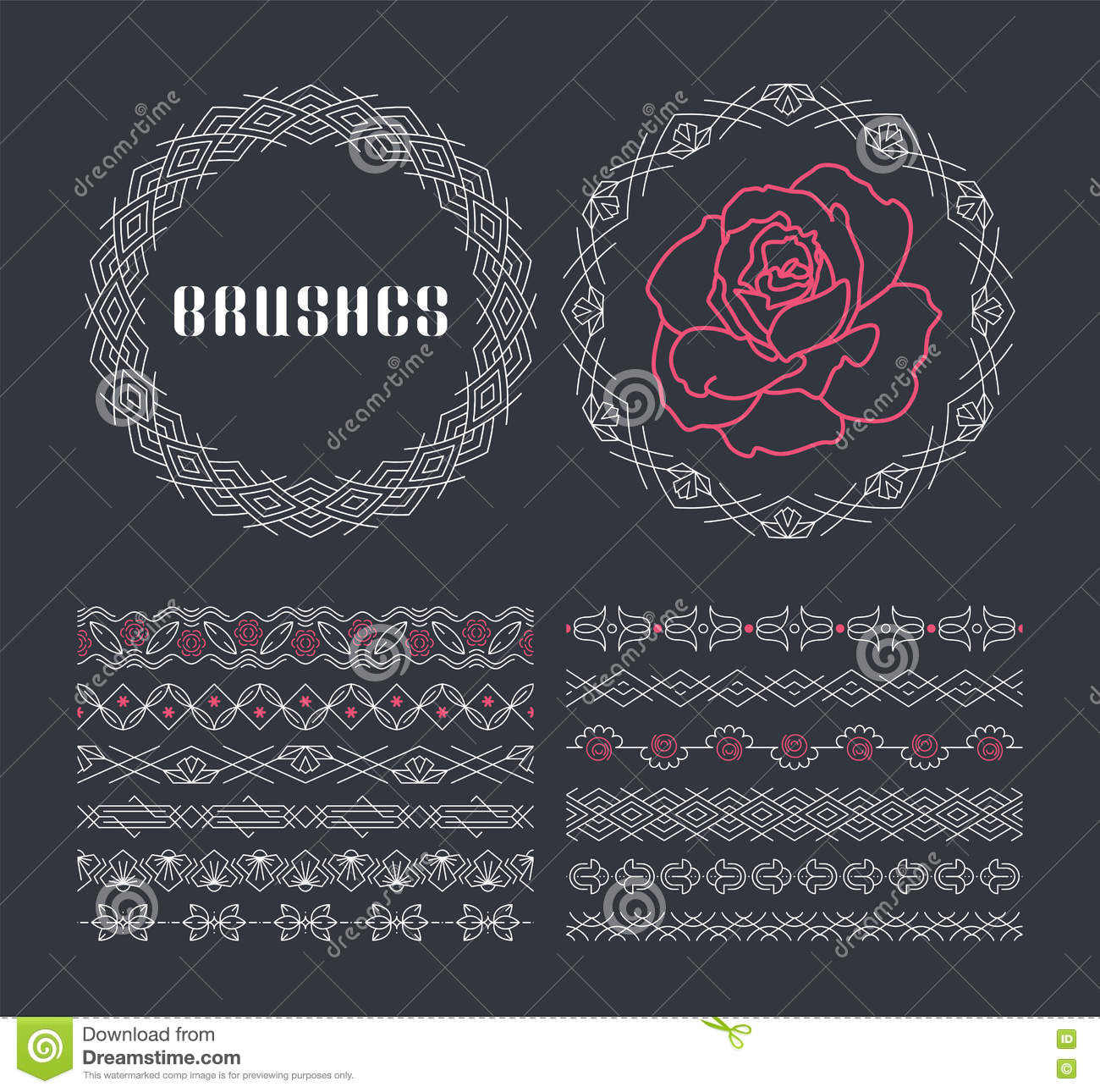 Vector set of seamless line ornaments