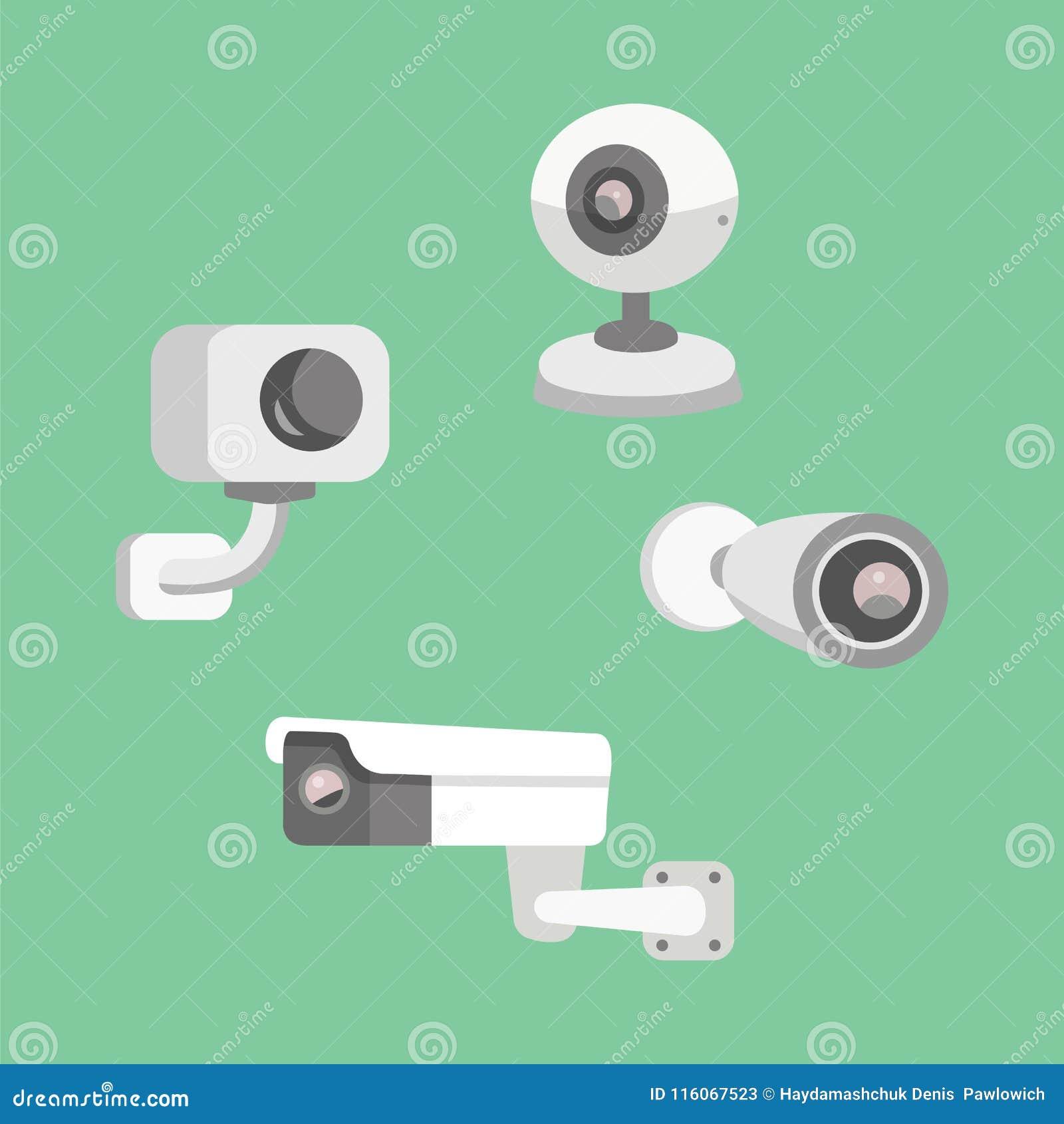 Vector Set Security Camera Cctv Cartoon Illustration Safety And