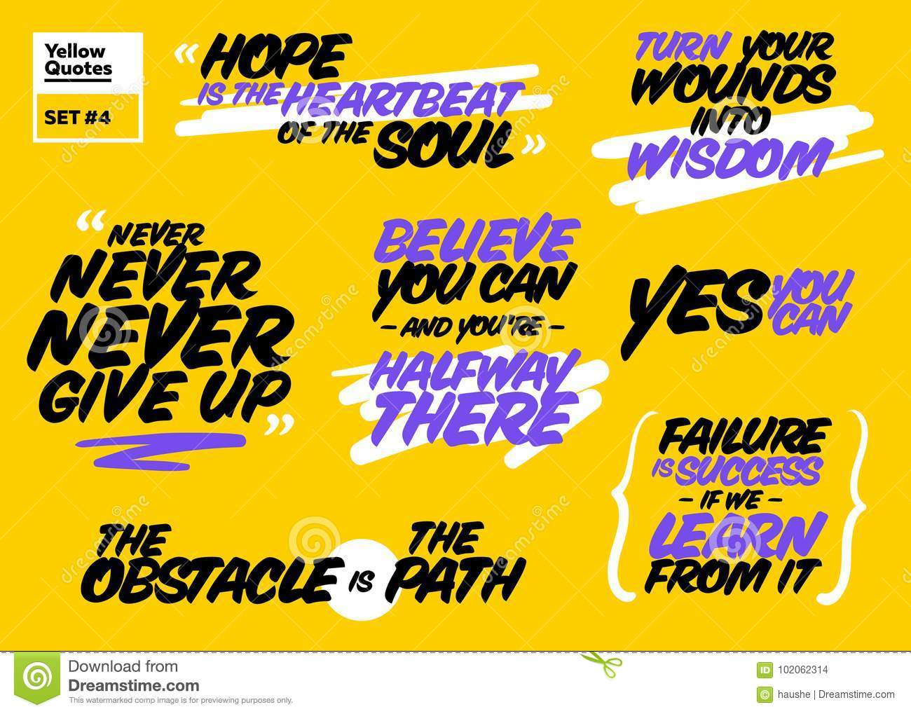 Vector Set Of Short Positive Quotes Motivational Cards Stock