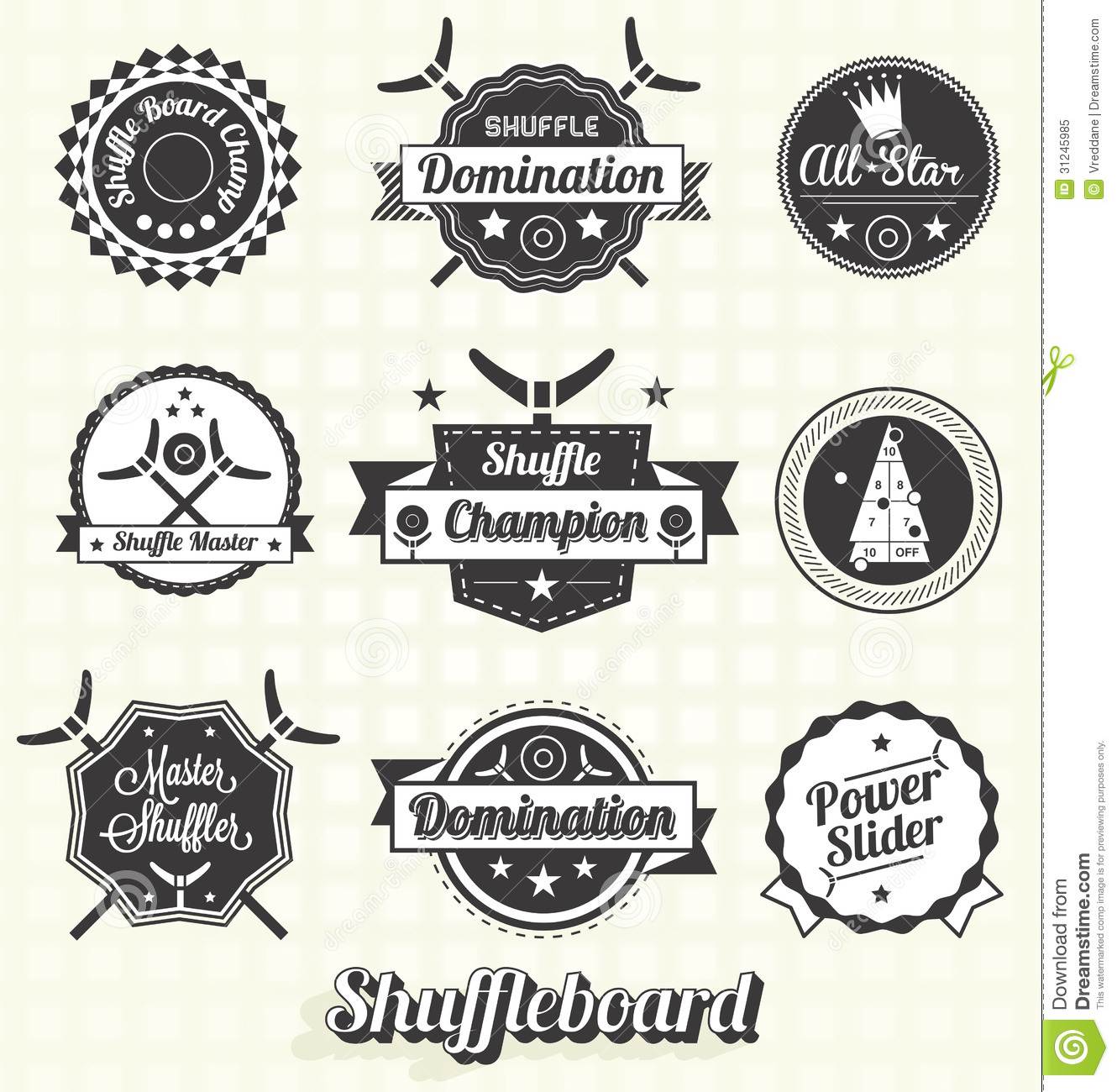 Vector Set Shuffleboard Labels And Icons Cartoon Vector