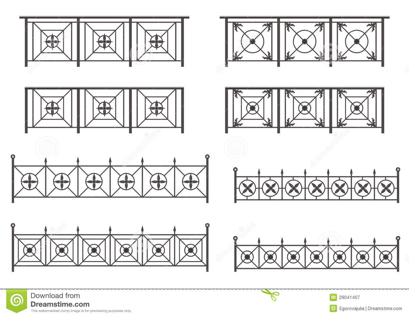 Vector set of silhouettes of iron fences royalty free - Cercas para jardin ...