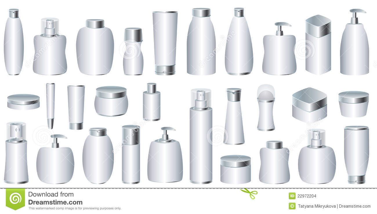 Vector Set Of Silver Cosmetic Packages Stock Images