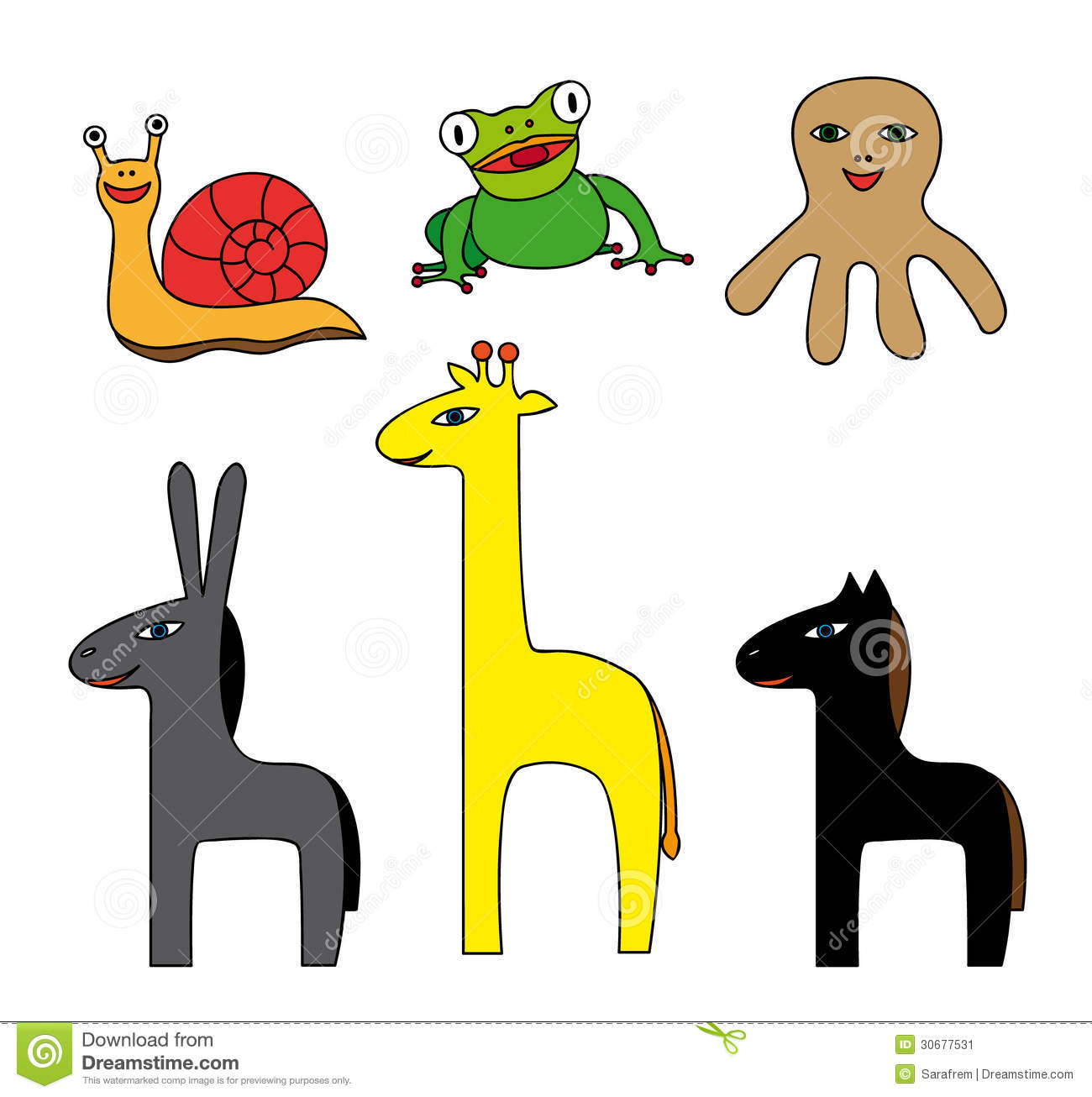 Vector Set Of Simple Colorful Cartoon Animals Stock Image