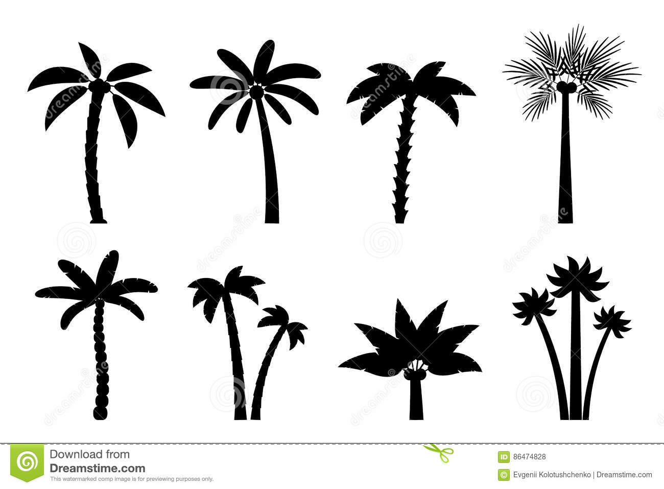 Vector Set Of Simple Palm Trees Stock Vector Illustration Of