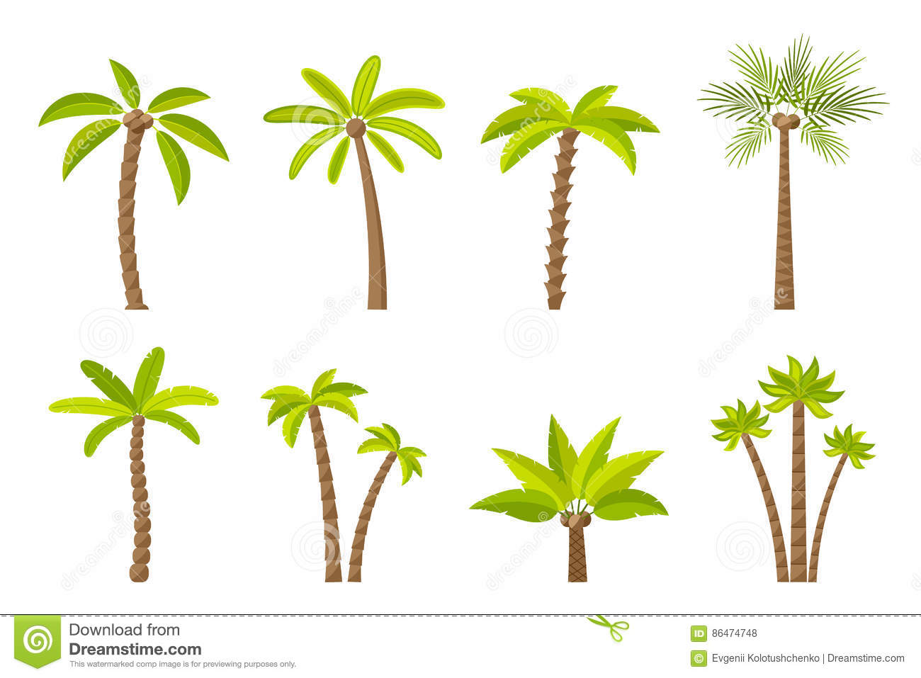 Vector Illustration Tree: Vector Set Of Simple Palm Trees. Stock Vector